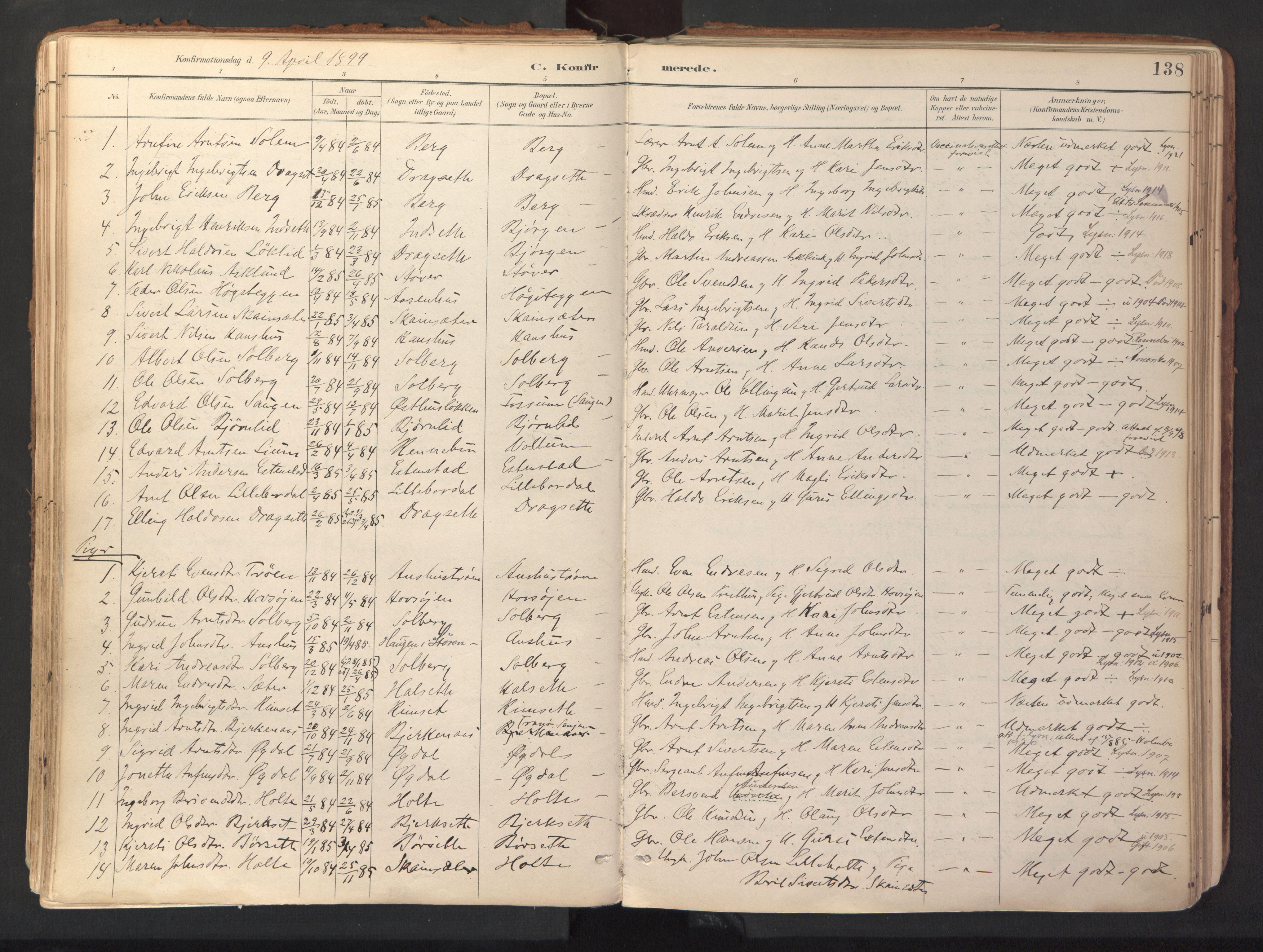 SAT, Ministerialprotokoller, klokkerbøker og fødselsregistre - Sør-Trøndelag, 689/L1041: Ministerialbok nr. 689A06, 1891-1923, s. 138