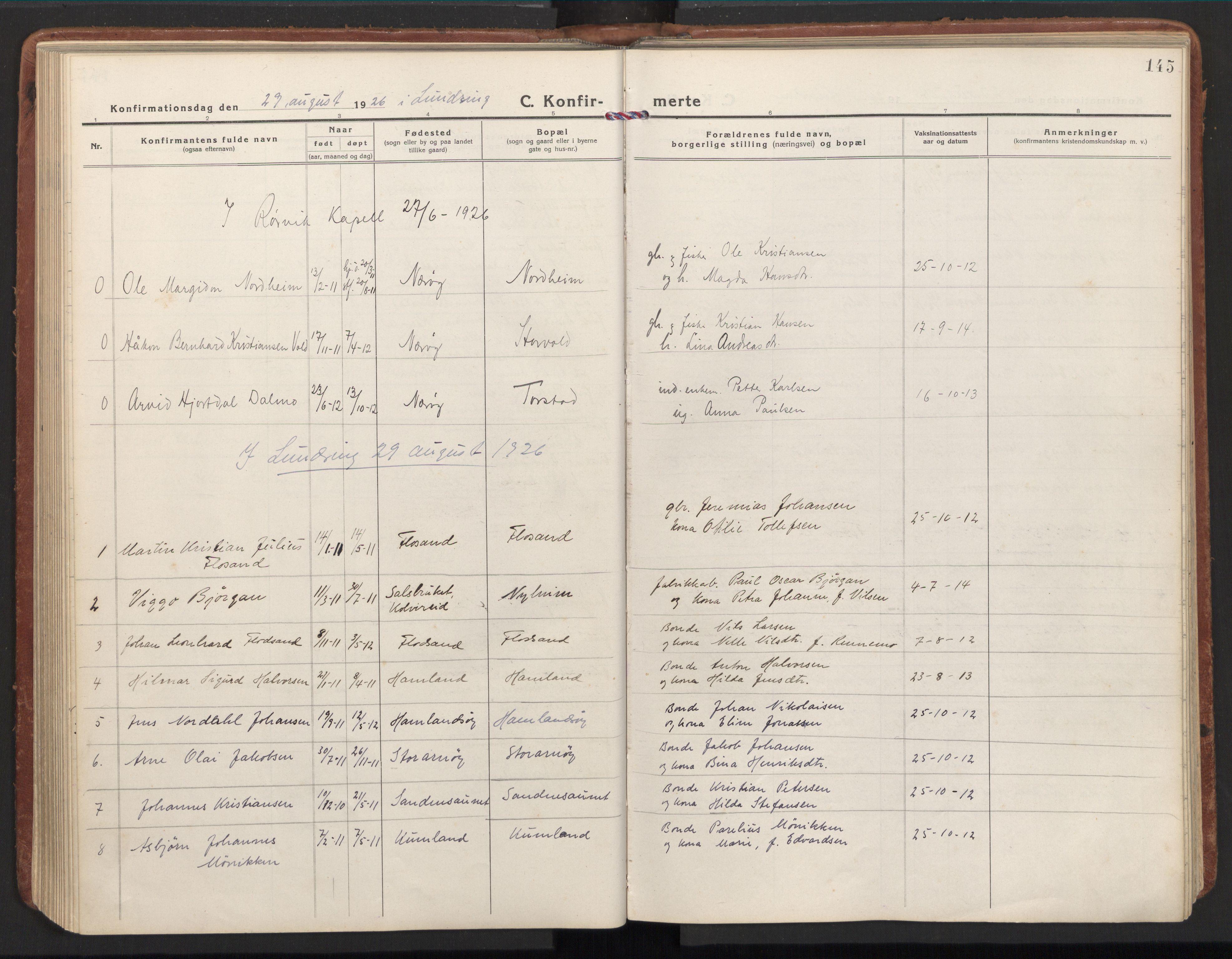 SAT, Ministerialprotokoller, klokkerbøker og fødselsregistre - Nord-Trøndelag, 784/L0678: Ministerialbok nr. 784A13, 1921-1938, s. 145