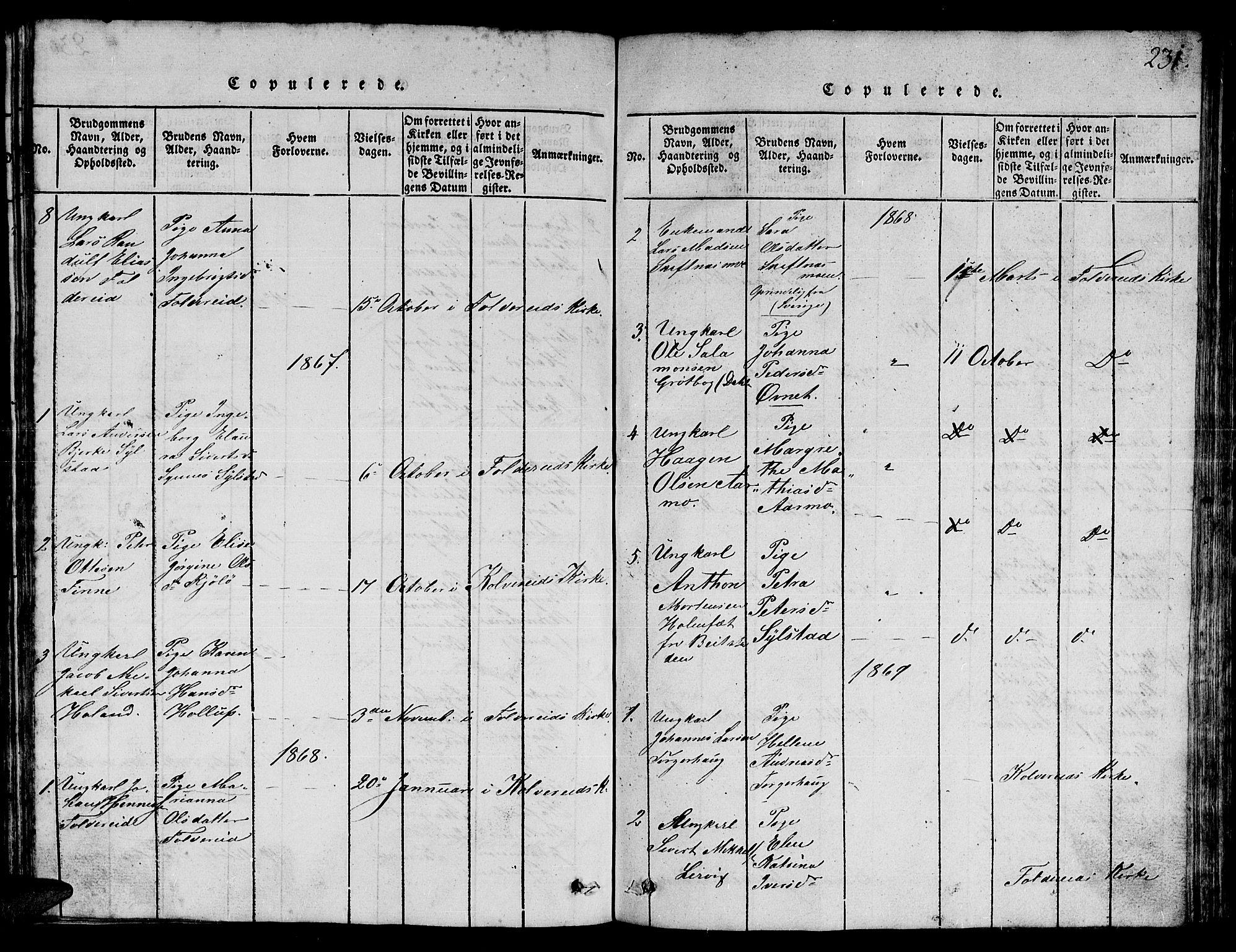 SAT, Ministerialprotokoller, klokkerbøker og fødselsregistre - Nord-Trøndelag, 780/L0648: Klokkerbok nr. 780C01 /3, 1815-1877, s. 231