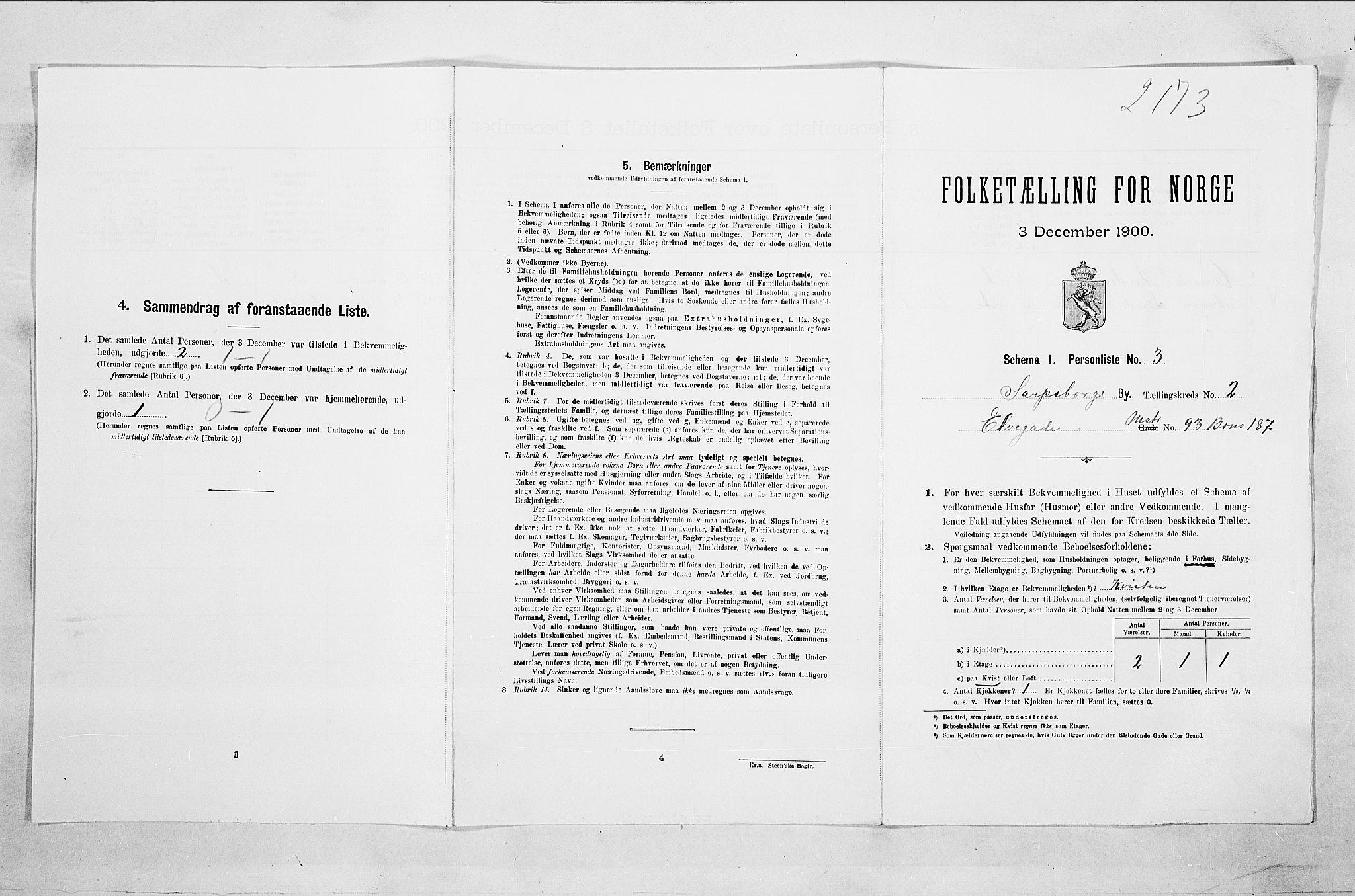 SAO, Folketelling 1900 for 0102 Sarpsborg kjøpstad, 1900