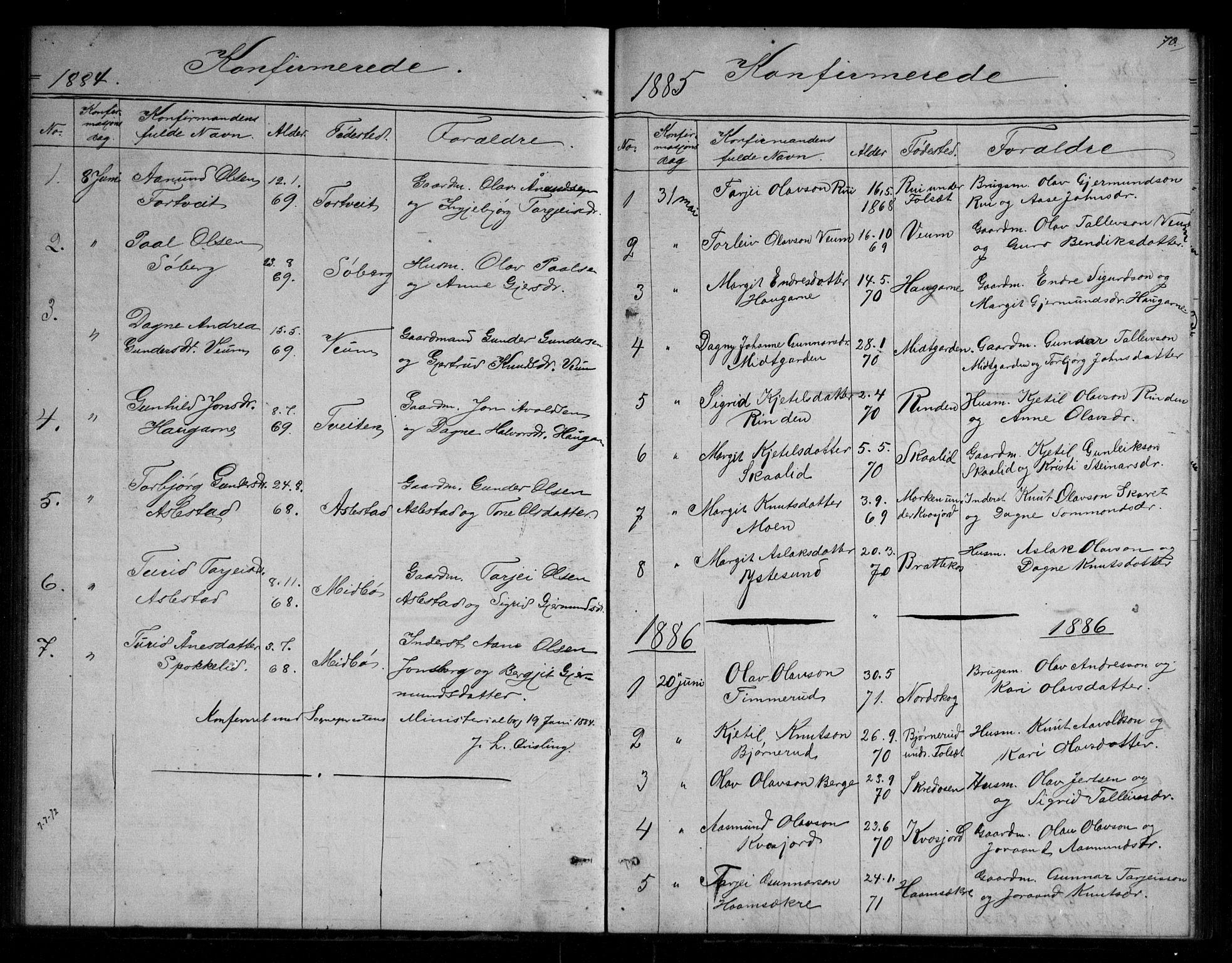 SAKO, Fyresdal kirkebøker, G/Gb/L0001: Klokkerbok nr. II 1, 1864-1890, s. 70