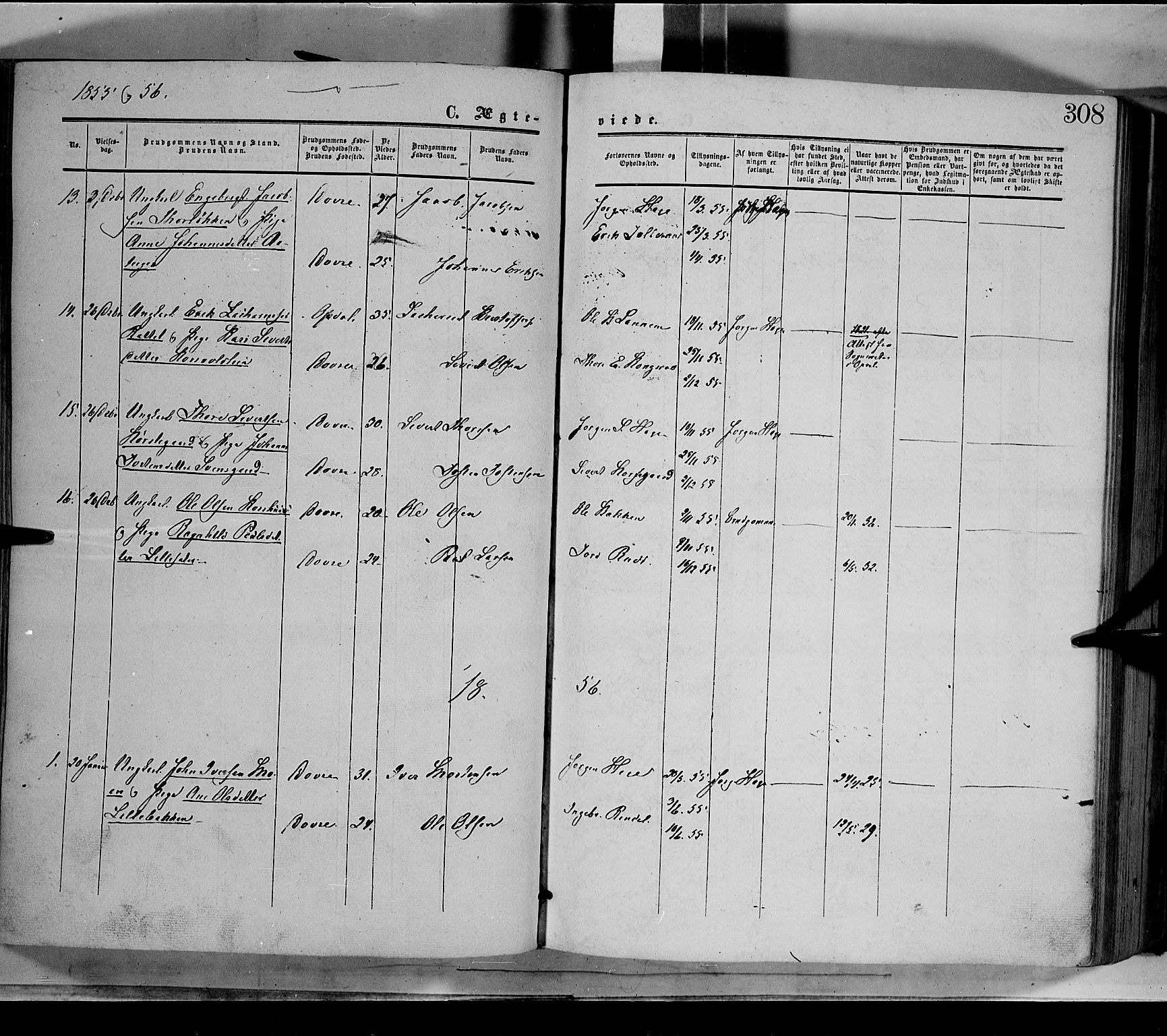 SAH, Dovre prestekontor, Ministerialbok nr. 1, 1854-1878, s. 308