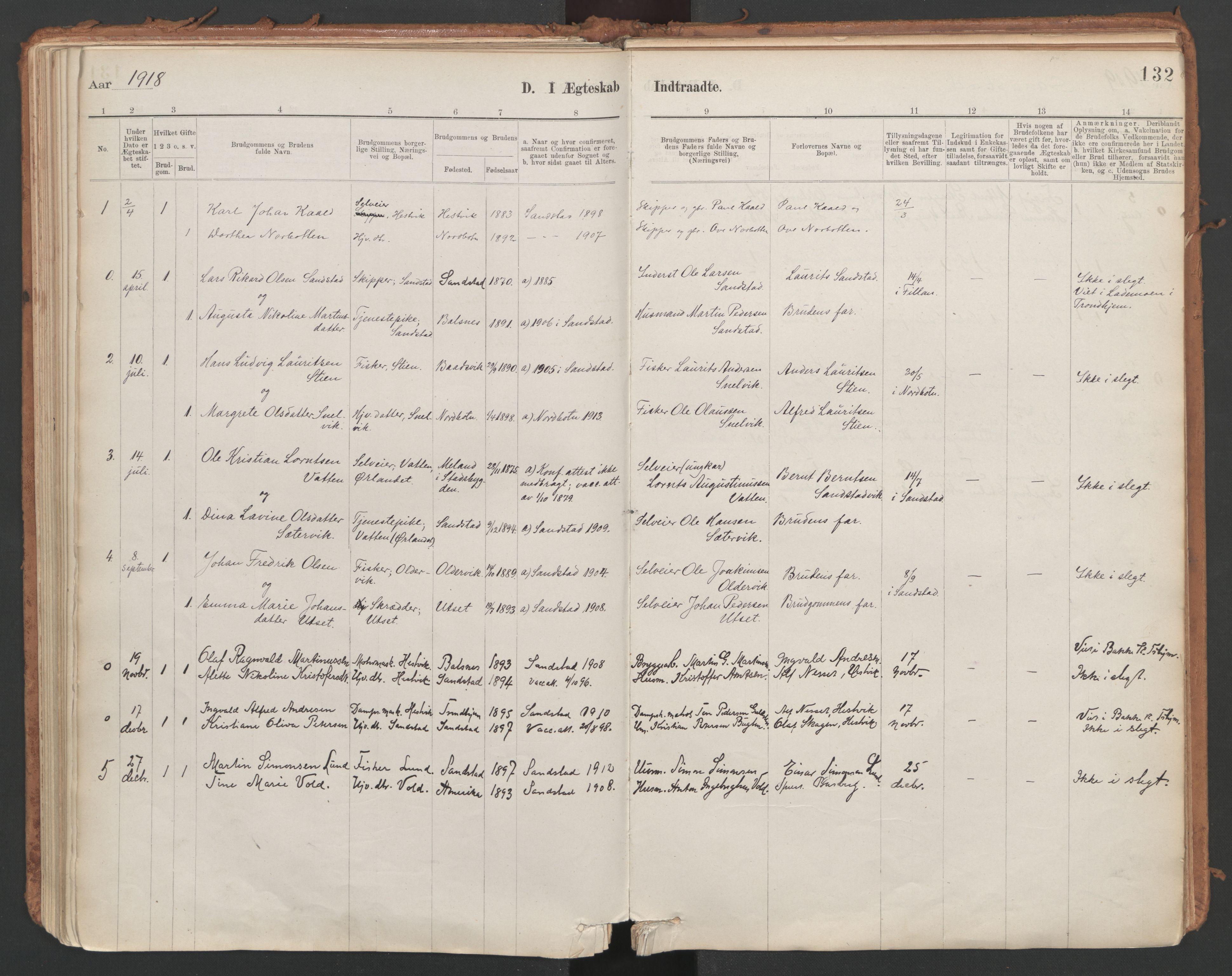 SAT, Ministerialprotokoller, klokkerbøker og fødselsregistre - Sør-Trøndelag, 639/L0572: Ministerialbok nr. 639A01, 1890-1920, s. 132