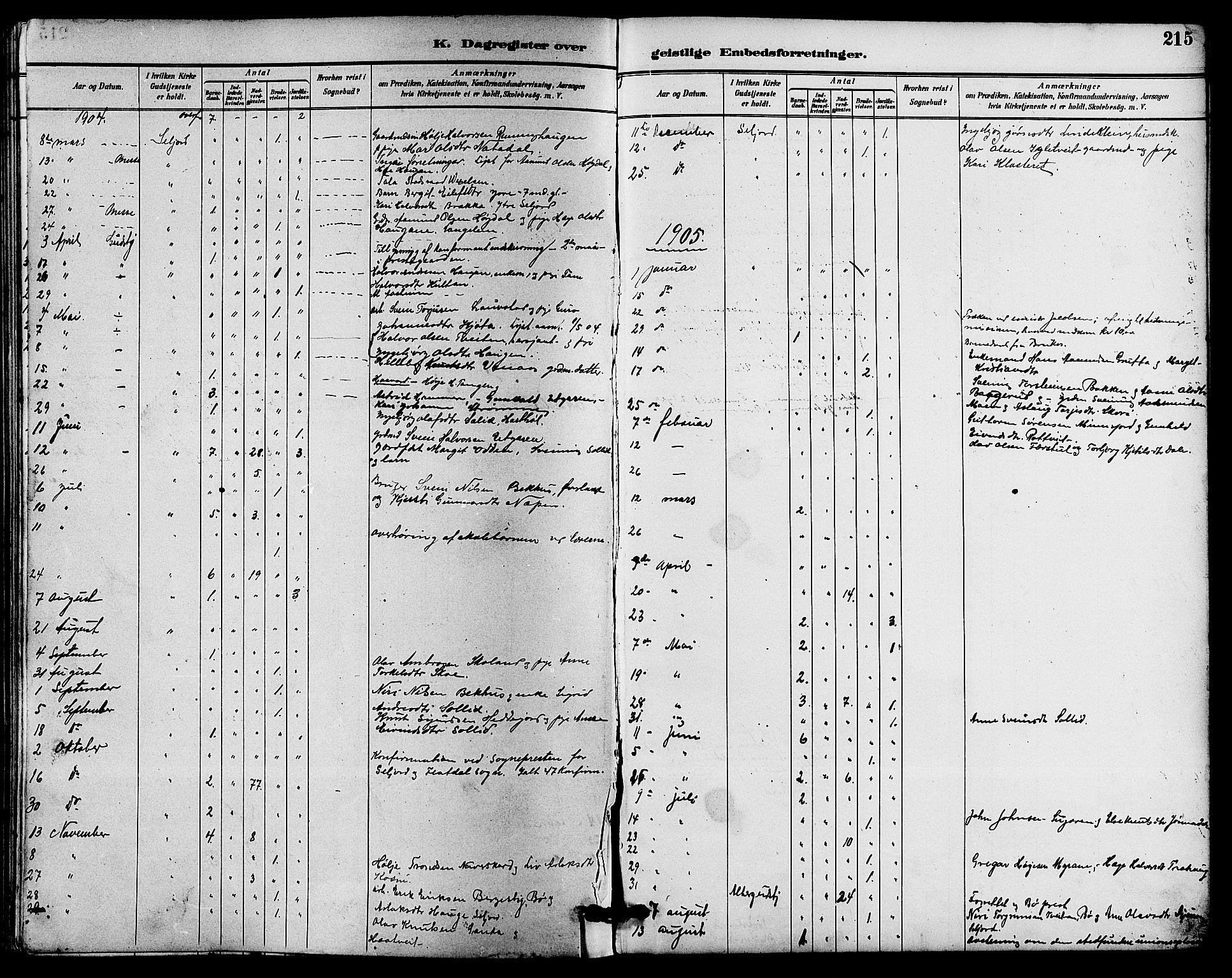 SAKO, Seljord kirkebøker, G/Ga/L0005: Klokkerbok nr. I 5, 1887-1914, s. 215