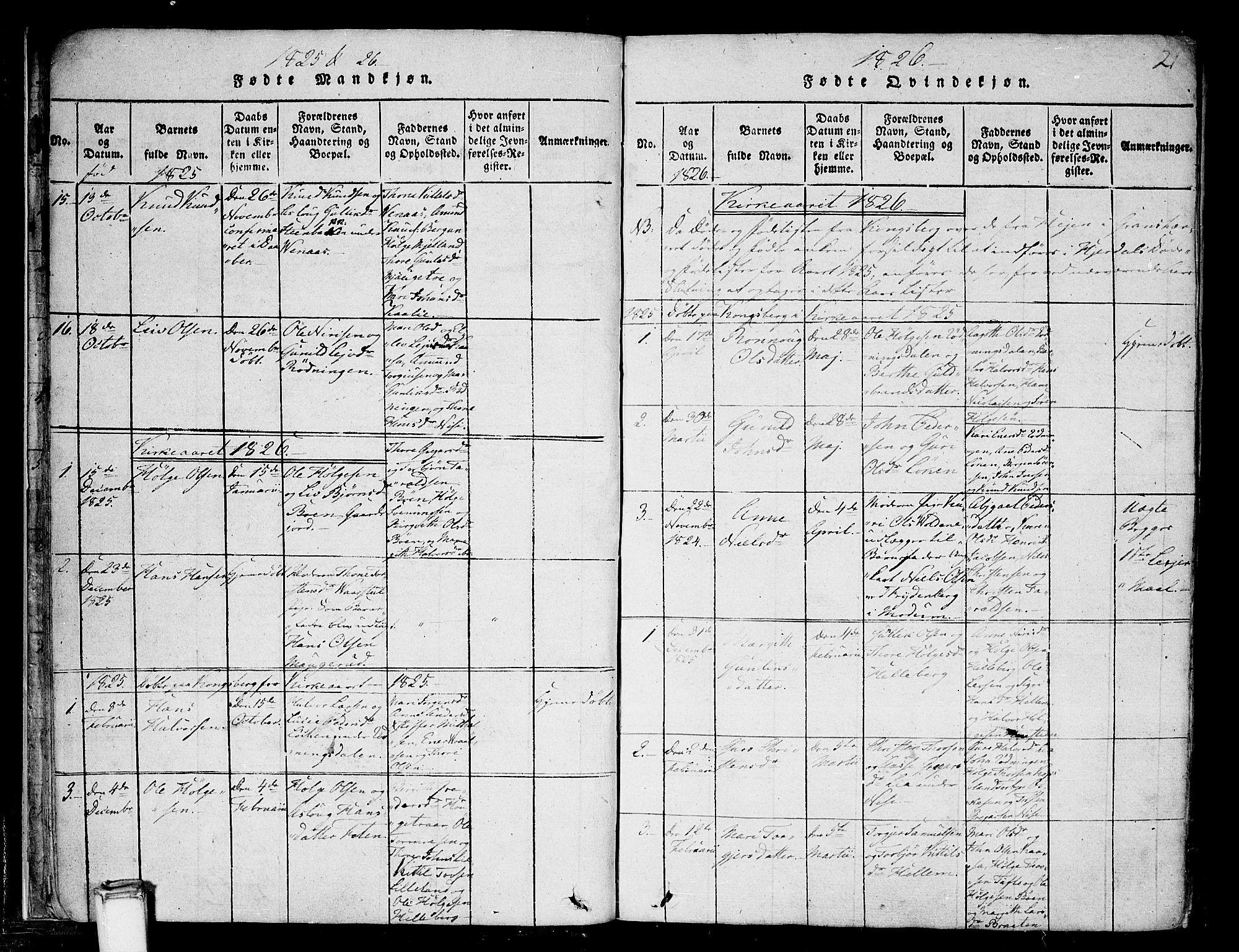 SAKO, Gransherad kirkebøker, F/Fa/L0001: Ministerialbok nr. I 1, 1815-1843, s. 21