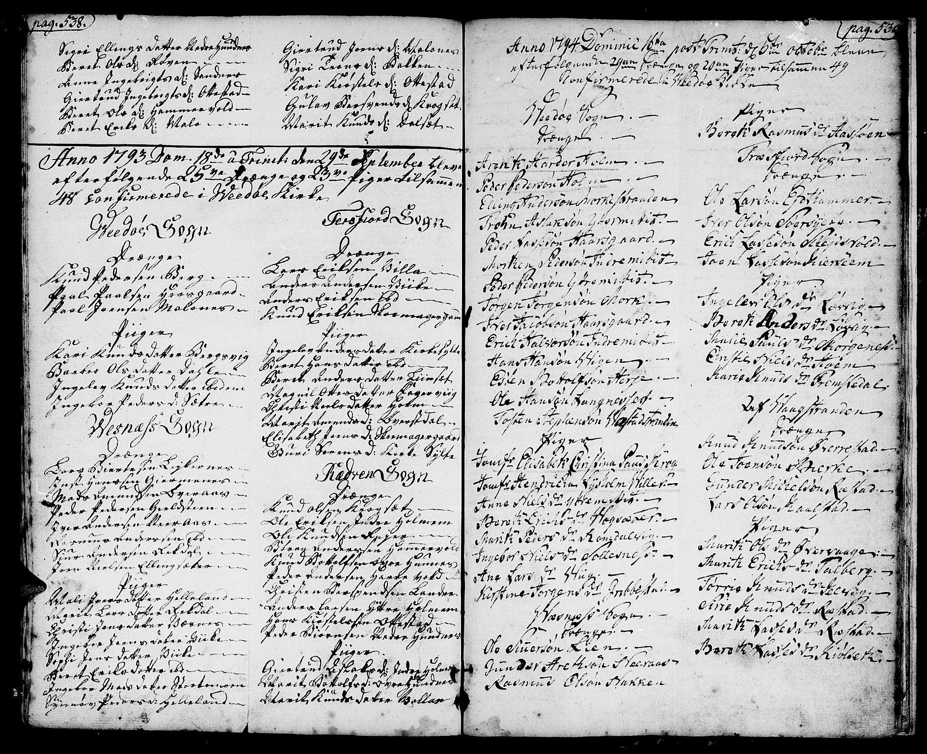 SAT, Ministerialprotokoller, klokkerbøker og fødselsregistre - Møre og Romsdal, 547/L0600: Ministerialbok nr. 547A02, 1765-1799, s. 538-539