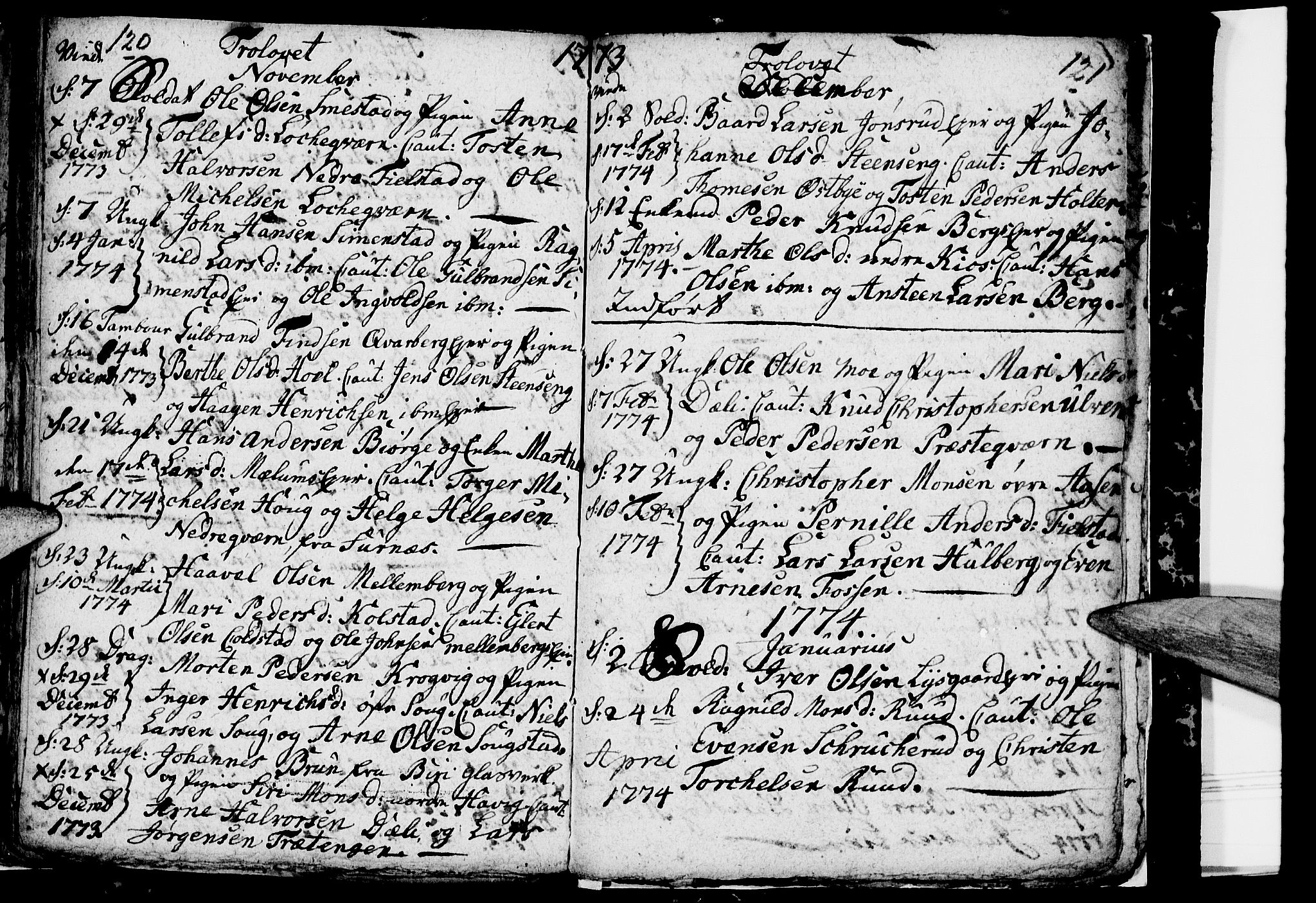 SAH, Ringsaker prestekontor, I/Ia/L0005/0001: Kladd til kirkebok nr. 1A, 1773-1775, s. 120-121