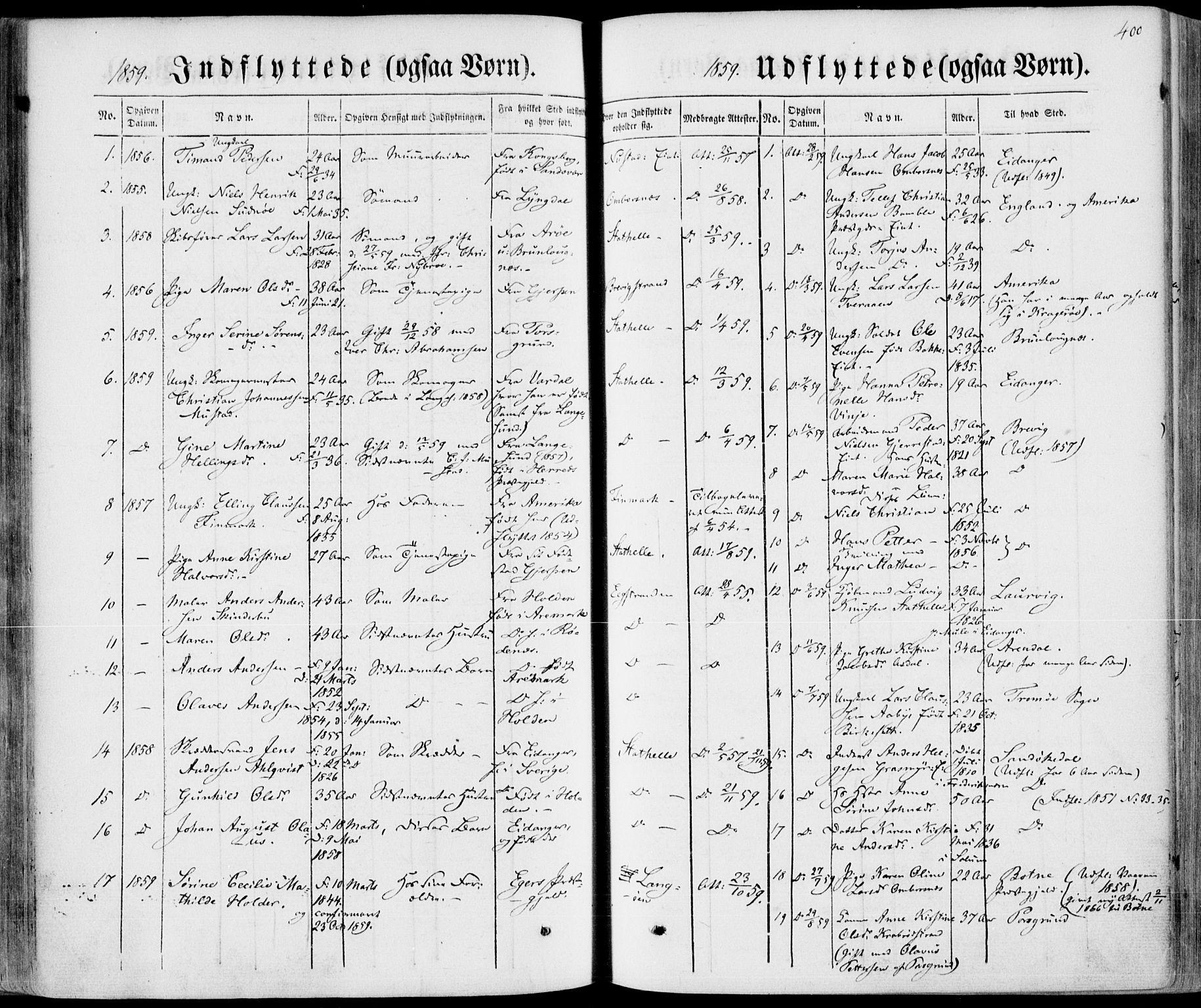 SAKO, Bamble kirkebøker, F/Fa/L0005: Ministerialbok nr. I 5, 1854-1869, s. 400