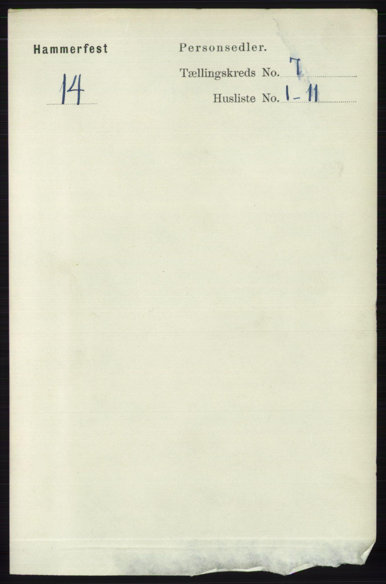 RA, Folketelling 1891 for 2001 Hammerfest kjøpstad, 1891, s. 2286