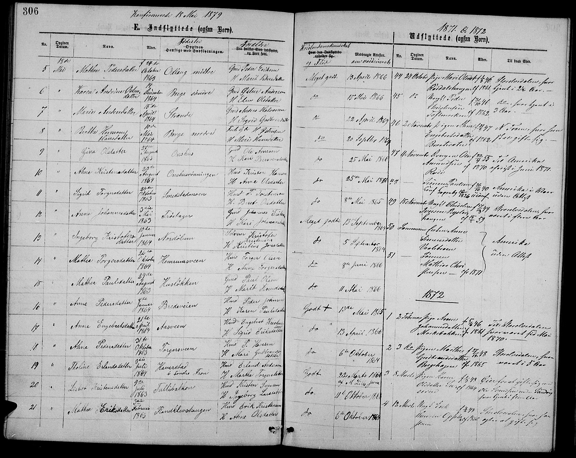 SAH, Ringebu prestekontor, Klokkerbok nr. 4, 1867-1879, s. 306