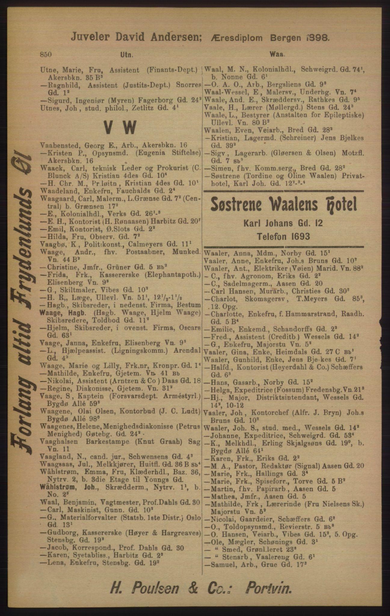 RA, Kristiania adressebok (publikasjon)*, 1905, s. 850