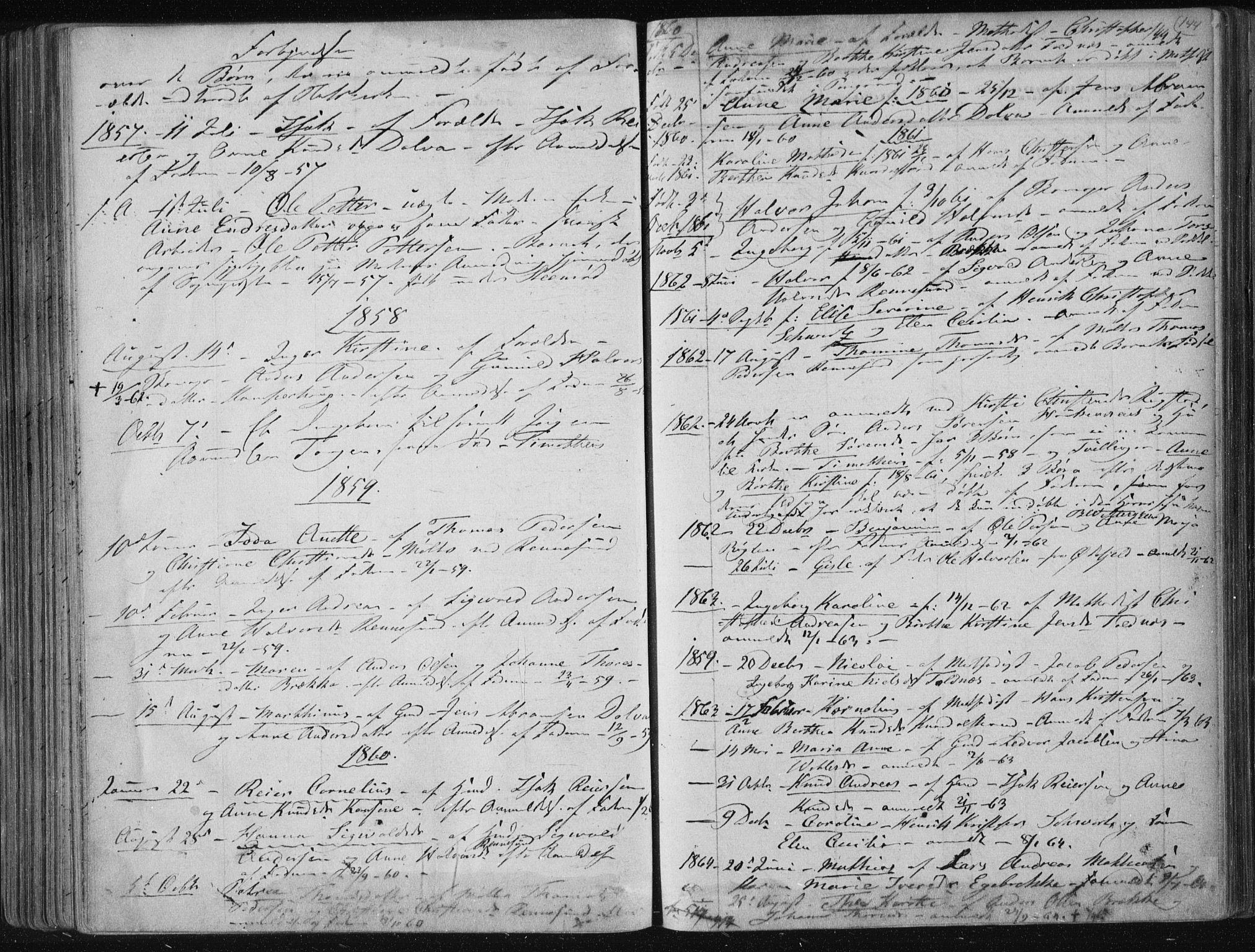 SAKO, Solum kirkebøker, F/Fa/L0007: Ministerialbok nr. I 7, 1856-1864, s. 144