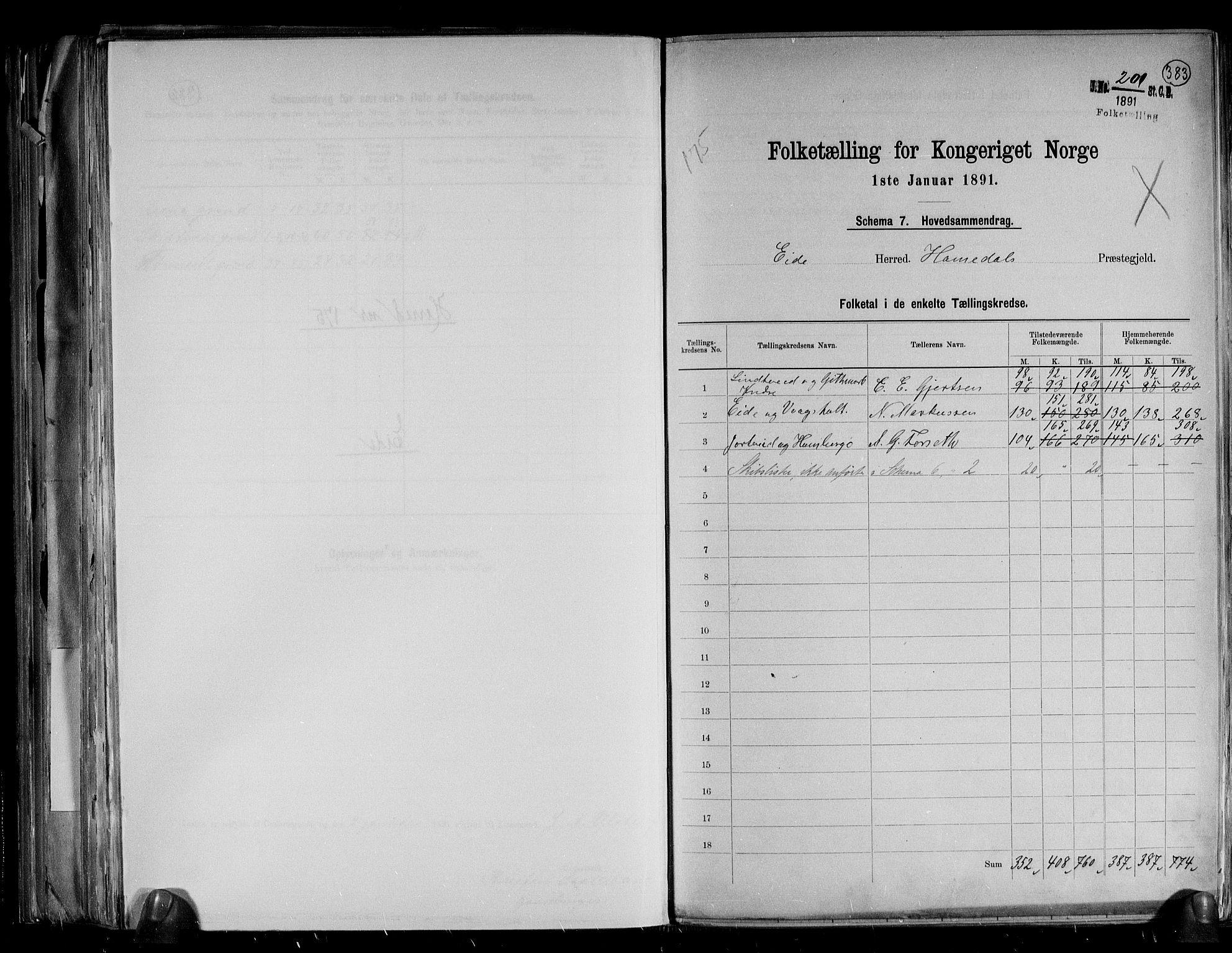RA, Folketelling 1891 for 0925 Eide herred, 1891, s. 2
