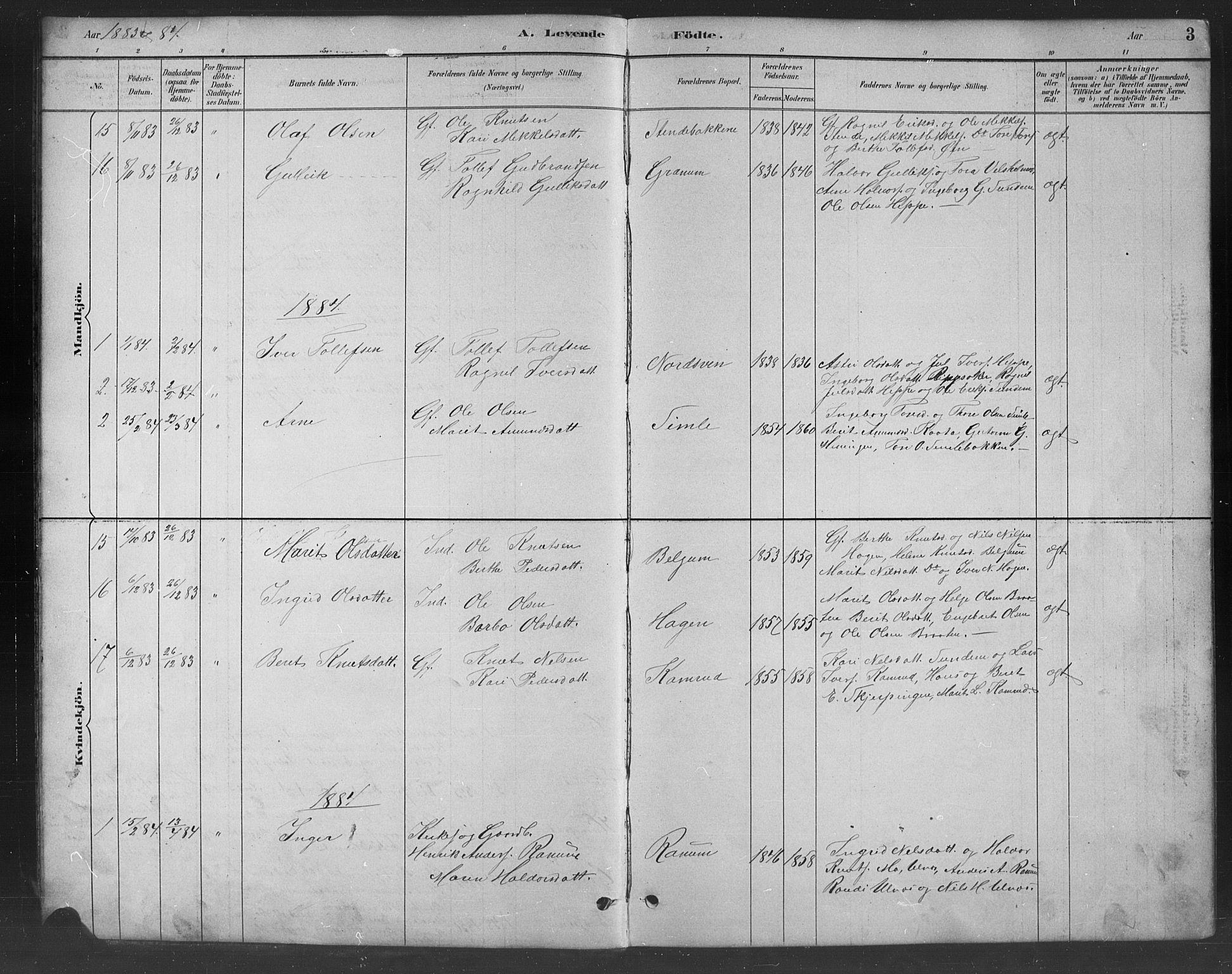 SAH, Nord-Aurdal prestekontor, Klokkerbok nr. 8, 1883-1916, s. 3