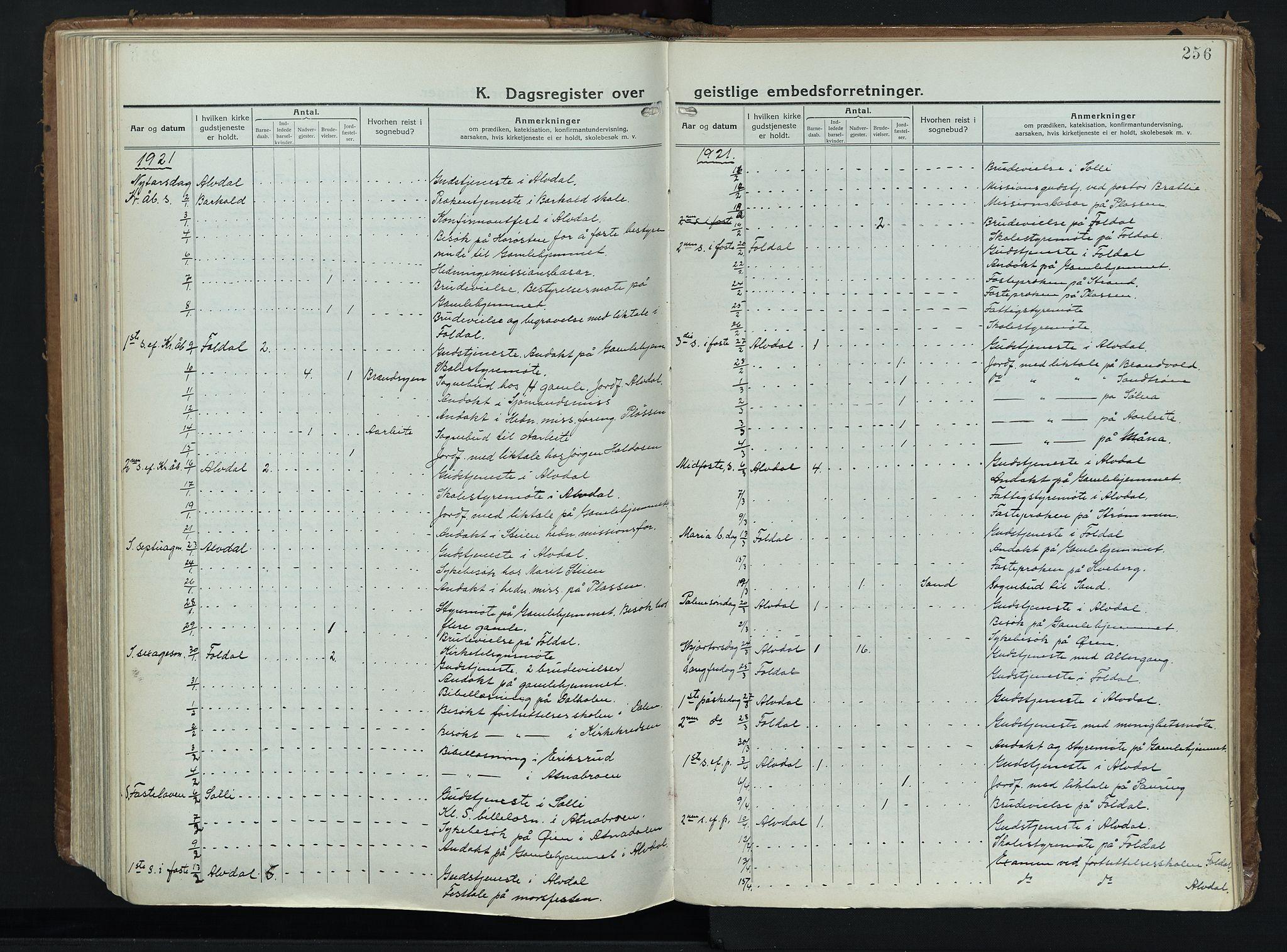SAH, Alvdal prestekontor, Ministerialbok nr. 6, 1920-1937, s. 256
