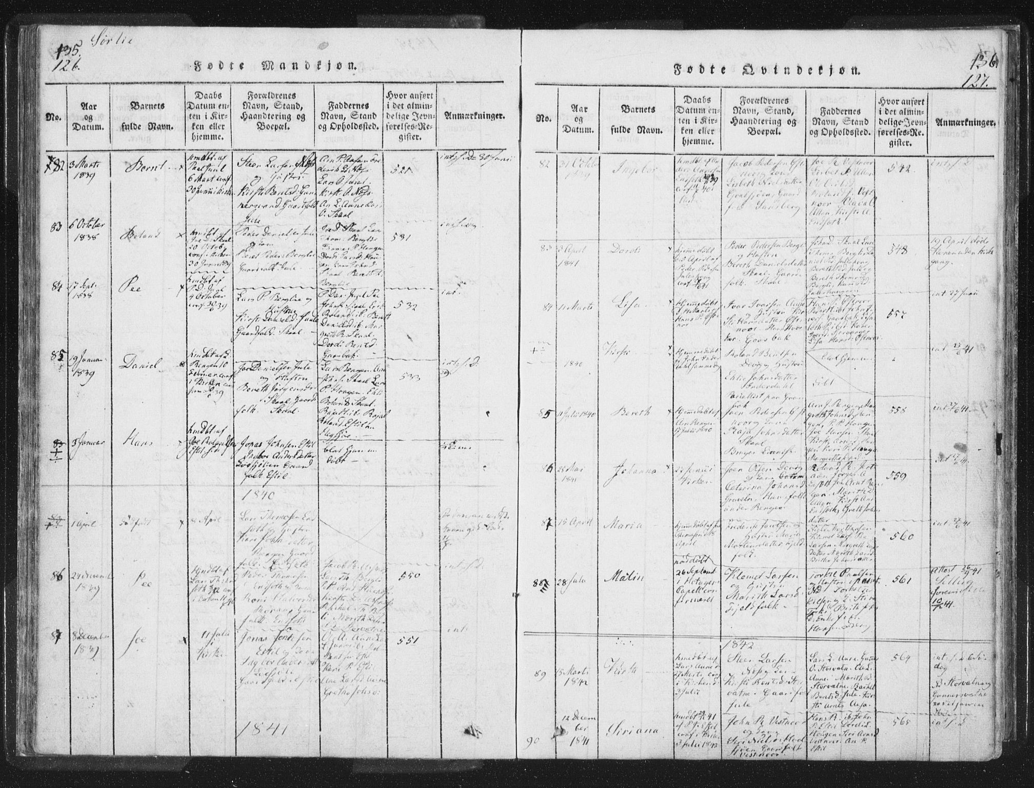 SAT, Ministerialprotokoller, klokkerbøker og fødselsregistre - Nord-Trøndelag, 755/L0491: Ministerialbok nr. 755A01 /2, 1817-1864, s. 126-127