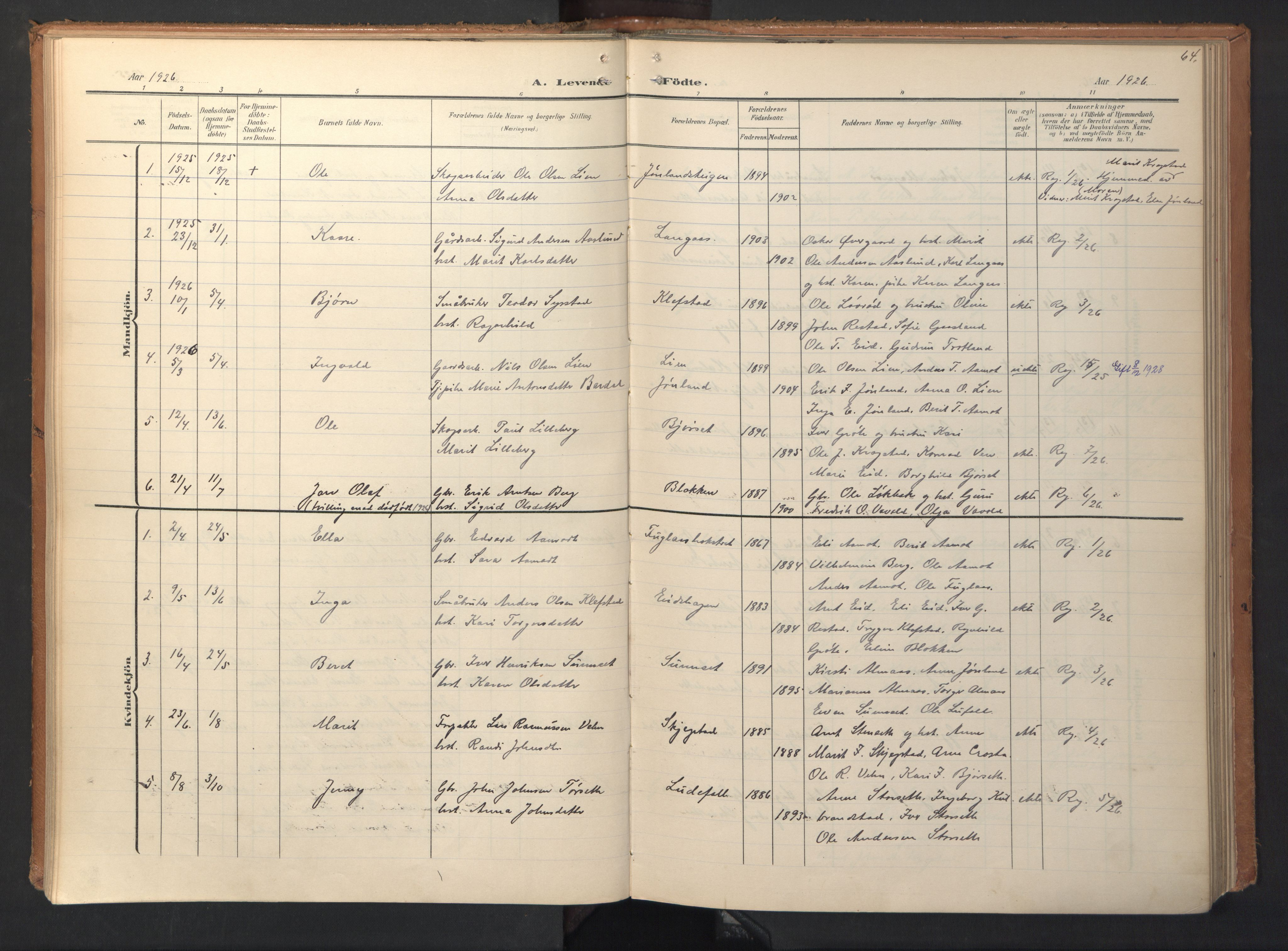 SAT, Ministerialprotokoller, klokkerbøker og fødselsregistre - Sør-Trøndelag, 694/L1128: Ministerialbok nr. 694A02, 1906-1931, s. 64