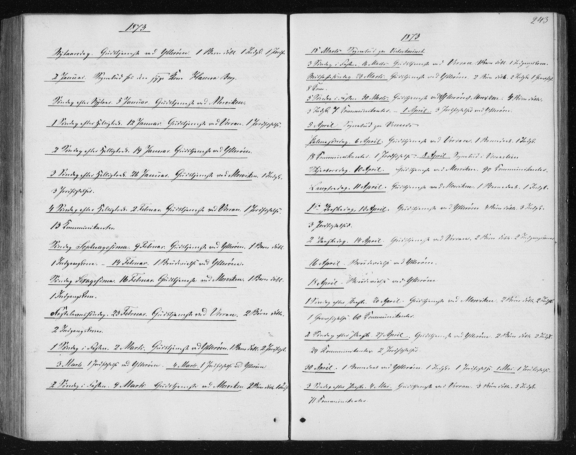 SAT, Ministerialprotokoller, klokkerbøker og fødselsregistre - Nord-Trøndelag, 722/L0219: Ministerialbok nr. 722A06, 1868-1880, s. 243