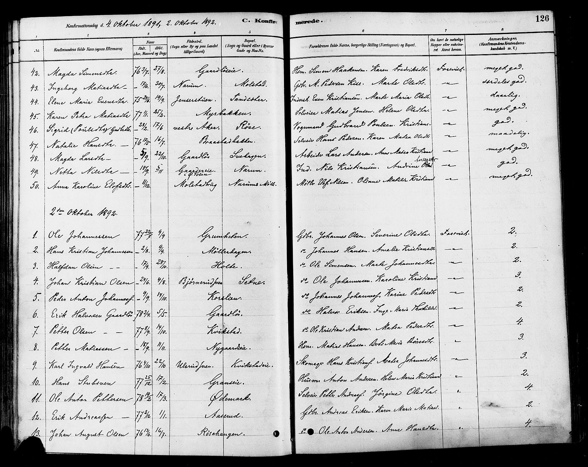 SAH, Vestre Toten prestekontor, H/Ha/Haa/L0010: Ministerialbok nr. 10, 1878-1894, s. 126