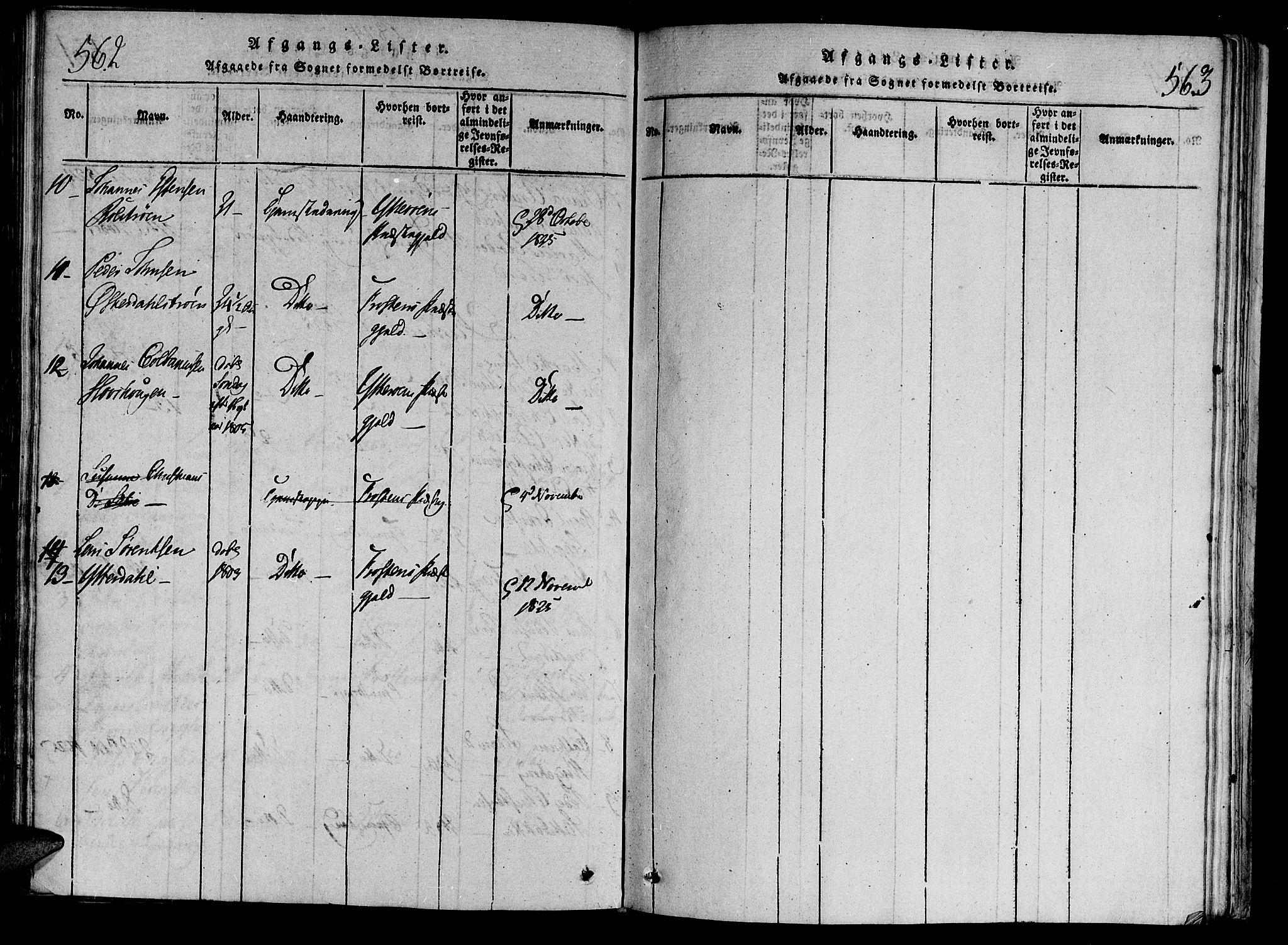 SAT, Ministerialprotokoller, klokkerbøker og fødselsregistre - Nord-Trøndelag, 701/L0005: Ministerialbok nr. 701A05 /1, 1816-1825, s. 562-563