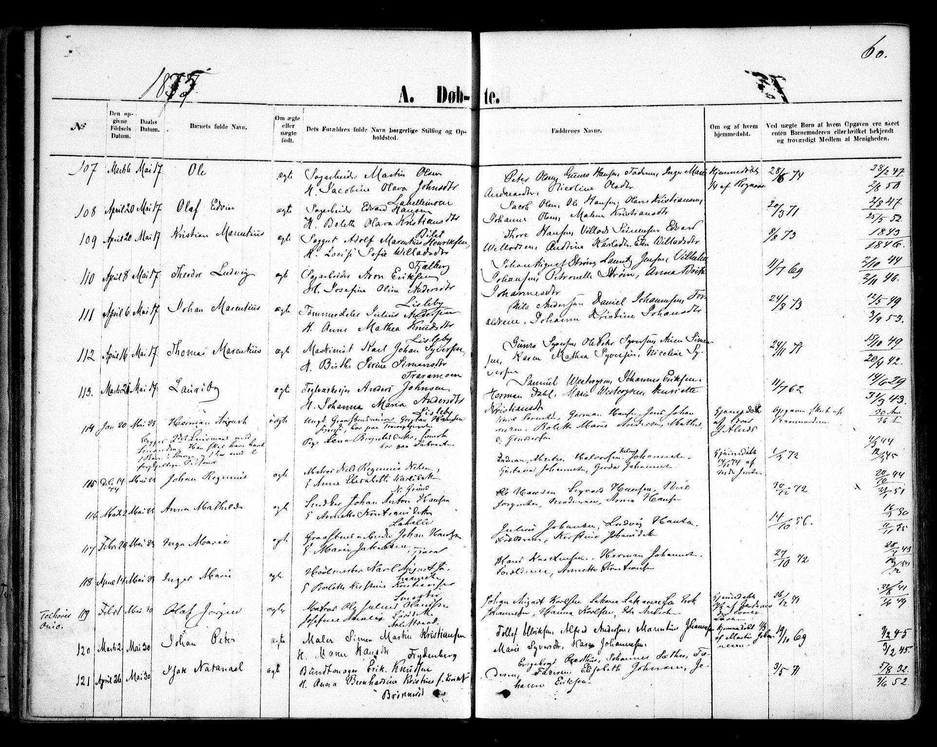 SAO, Glemmen prestekontor Kirkebøker, F/Fa/L0009: Ministerialbok nr. 9, 1871-1878, s. 60