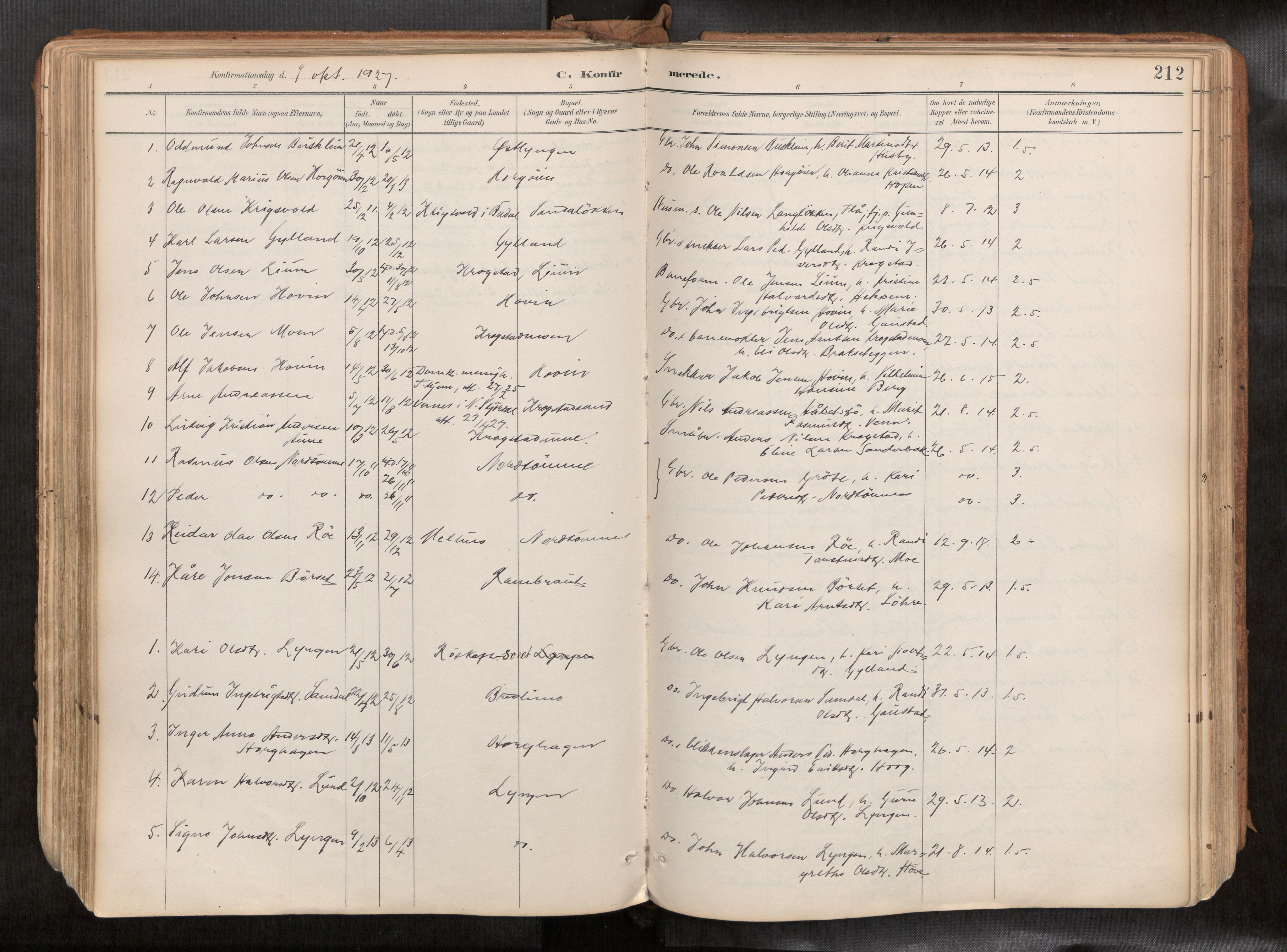 SAT, Ministerialprotokoller, klokkerbøker og fødselsregistre - Sør-Trøndelag, 692/L1105b: Ministerialbok nr. 692A06, 1891-1934, s. 212