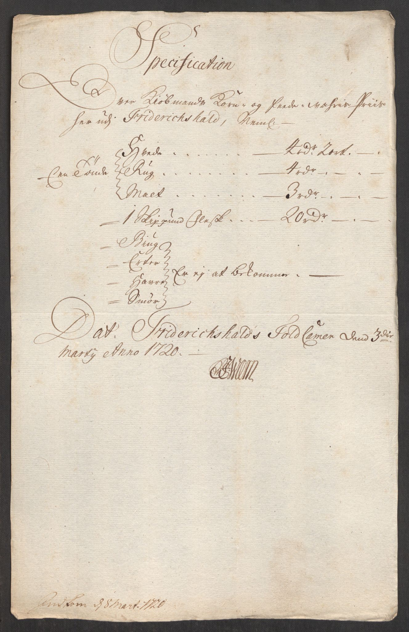 RA, Rentekammeret inntil 1814, Realistisk ordnet avdeling, Oe/L0001: [Ø1]: Priskuranter, 1712-1739, s. 165