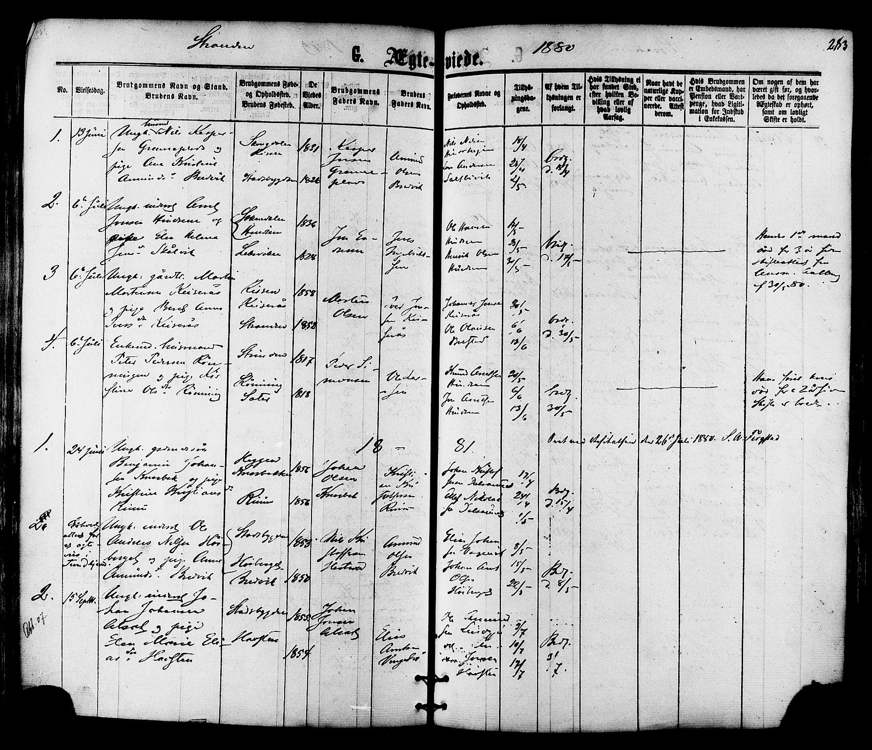 SAT, Ministerialprotokoller, klokkerbøker og fødselsregistre - Nord-Trøndelag, 701/L0009: Ministerialbok nr. 701A09 /2, 1864-1882, s. 283
