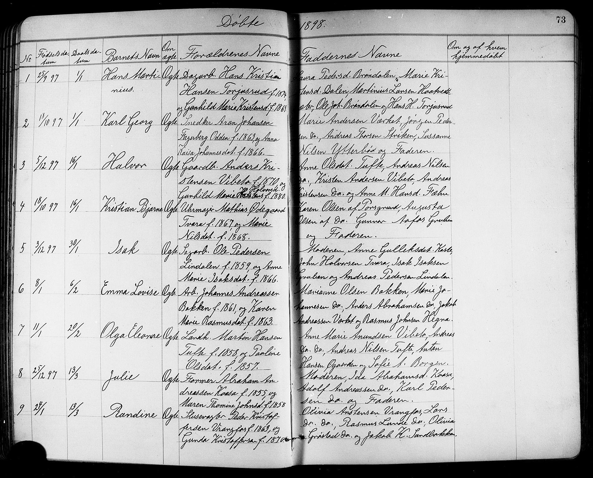SAKO, Holla kirkebøker, G/Ga/L0005: Klokkerbok nr. I 5, 1891-1917, s. 73