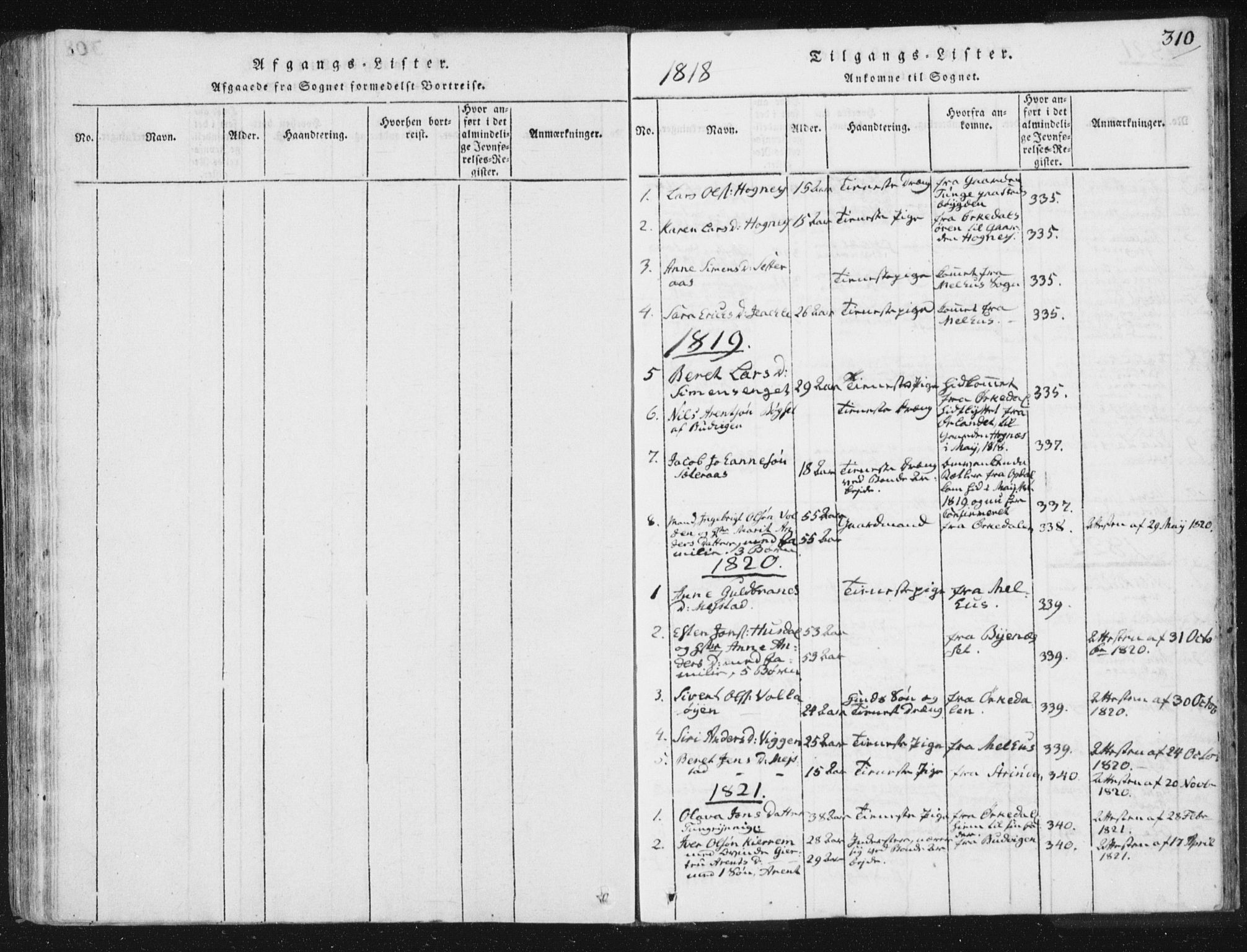 SAT, Ministerialprotokoller, klokkerbøker og fødselsregistre - Sør-Trøndelag, 665/L0770: Ministerialbok nr. 665A05, 1817-1829, s. 310
