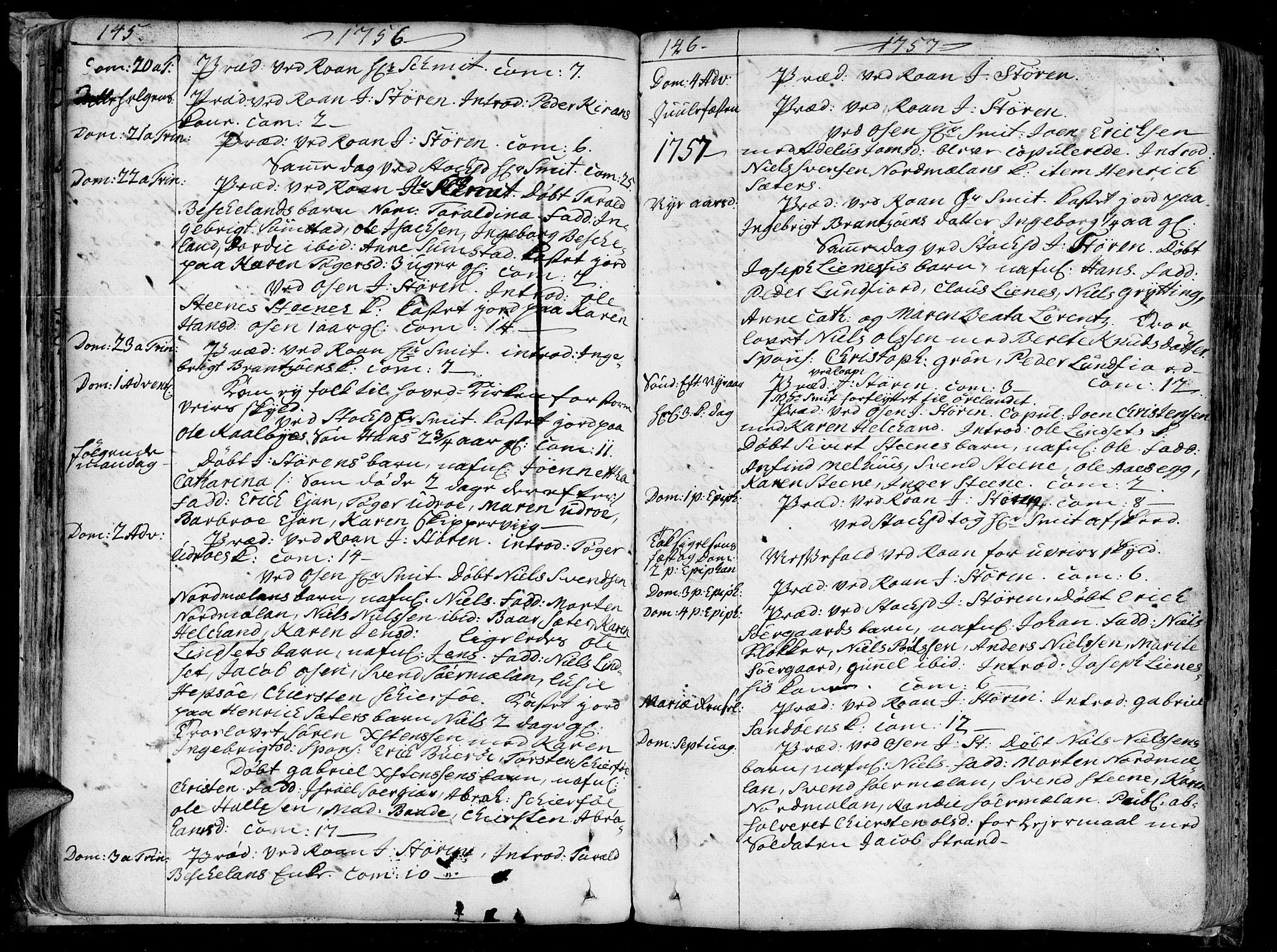 SAT, Ministerialprotokoller, klokkerbøker og fødselsregistre - Sør-Trøndelag, 657/L0700: Ministerialbok nr. 657A01, 1732-1801, s. 145-146