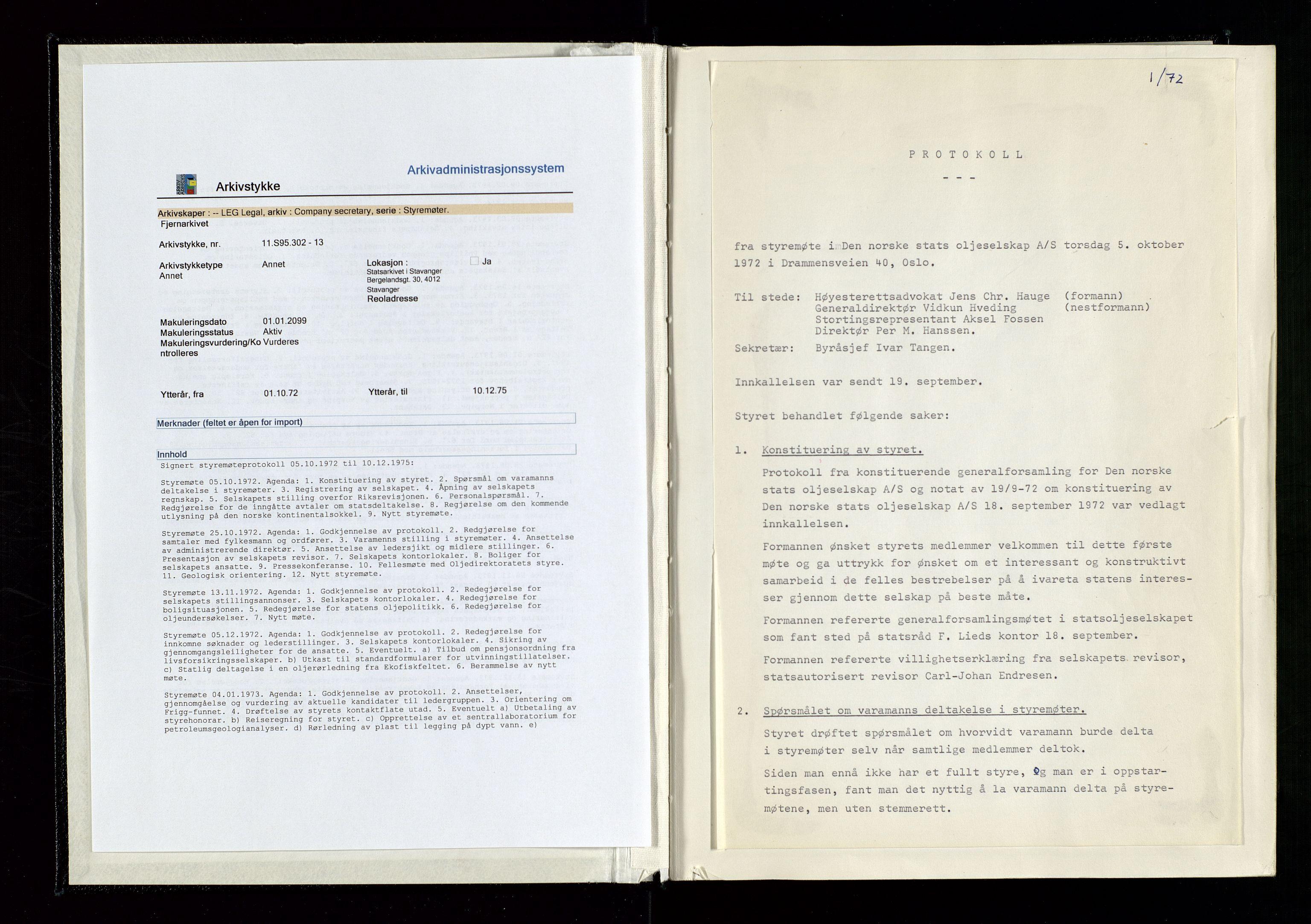 SAST, Pa 1339 - Statoil ASA, A/Ab/Aba/L0001: Styremøteprotokoller, 05.10.1972 til 14.12.1978, 1972-1978, s. 2