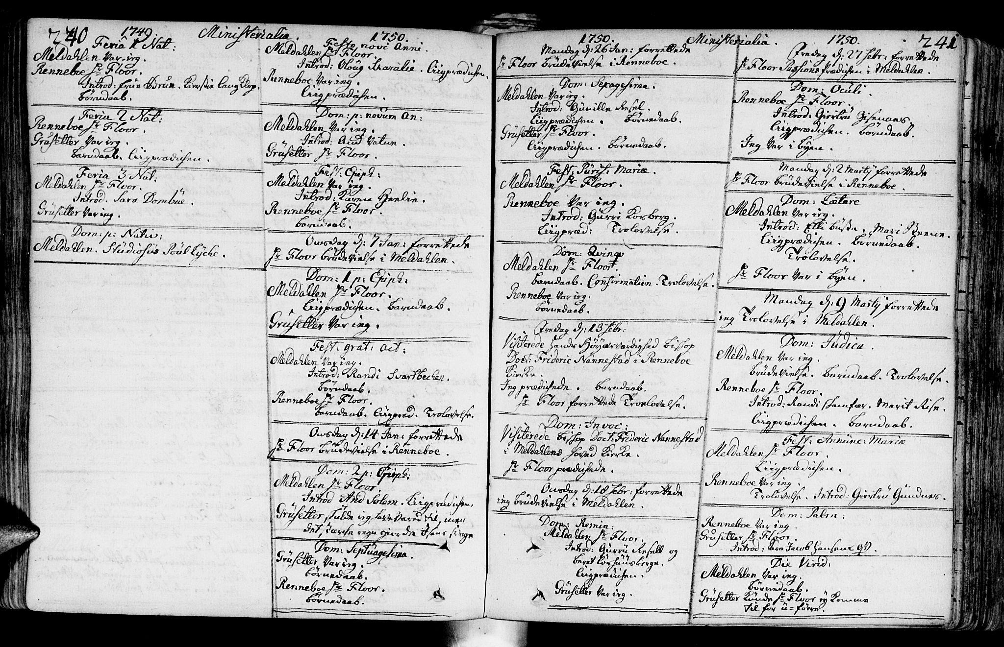 SAT, Ministerialprotokoller, klokkerbøker og fødselsregistre - Sør-Trøndelag, 672/L0850: Ministerialbok nr. 672A03, 1725-1751, s. 240-241