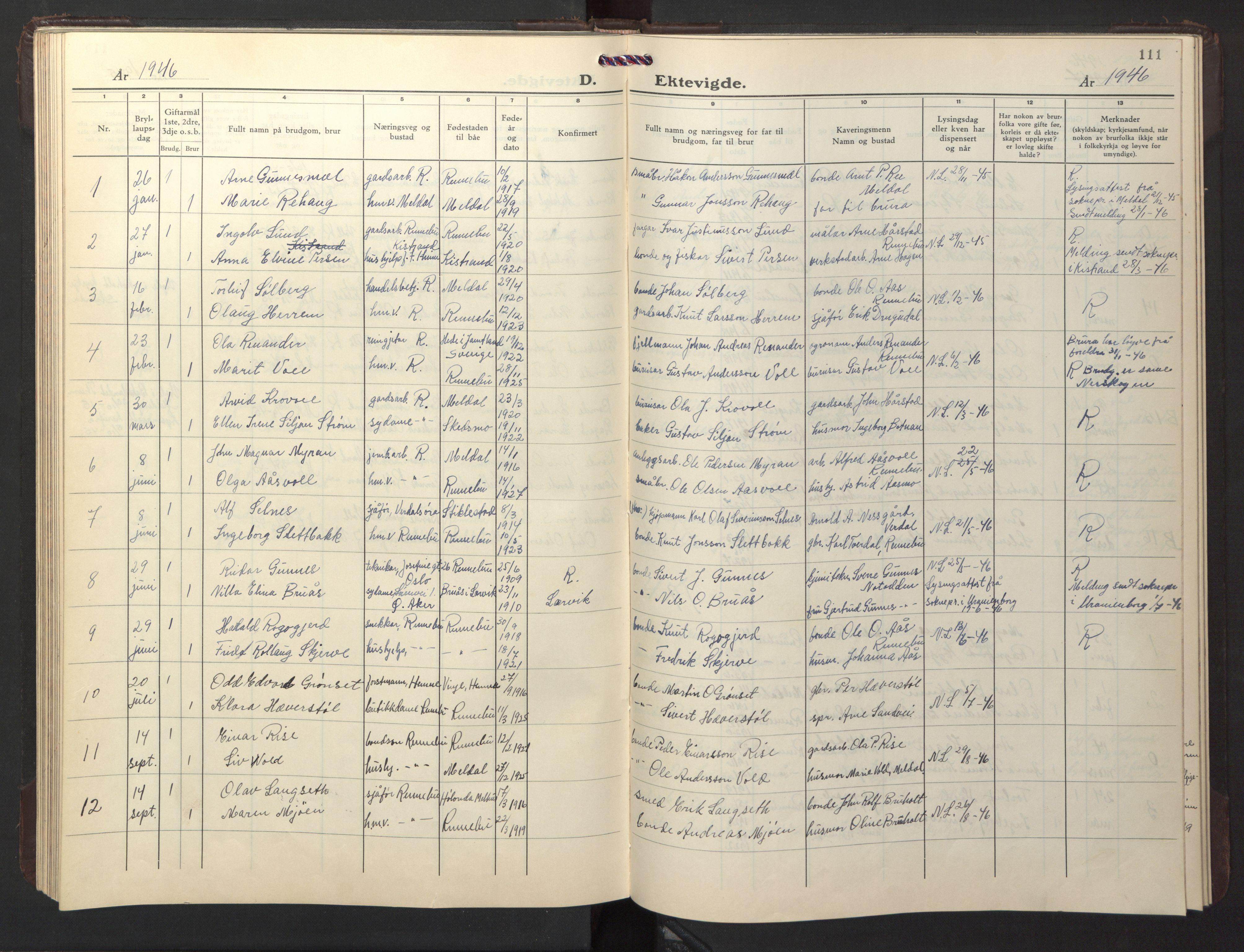 SAT, Ministerialprotokoller, klokkerbøker og fødselsregistre - Sør-Trøndelag, 674/L0878: Klokkerbok nr. 674C05, 1941-1950, s. 111