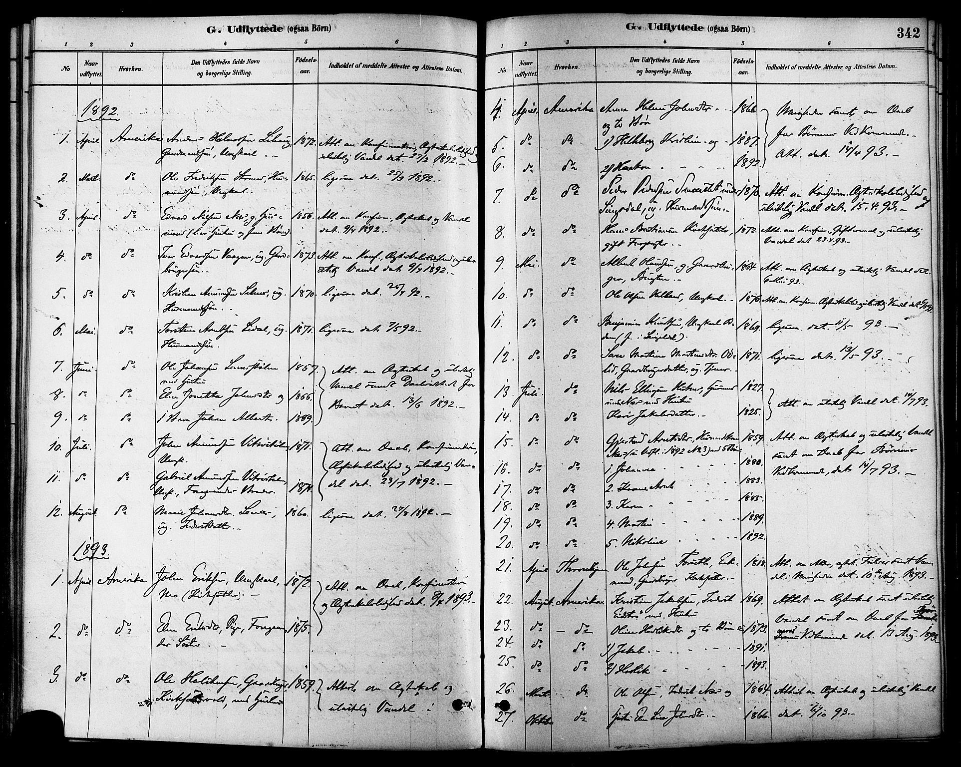SAT, Ministerialprotokoller, klokkerbøker og fødselsregistre - Sør-Trøndelag, 630/L0496: Ministerialbok nr. 630A09, 1879-1895, s. 342