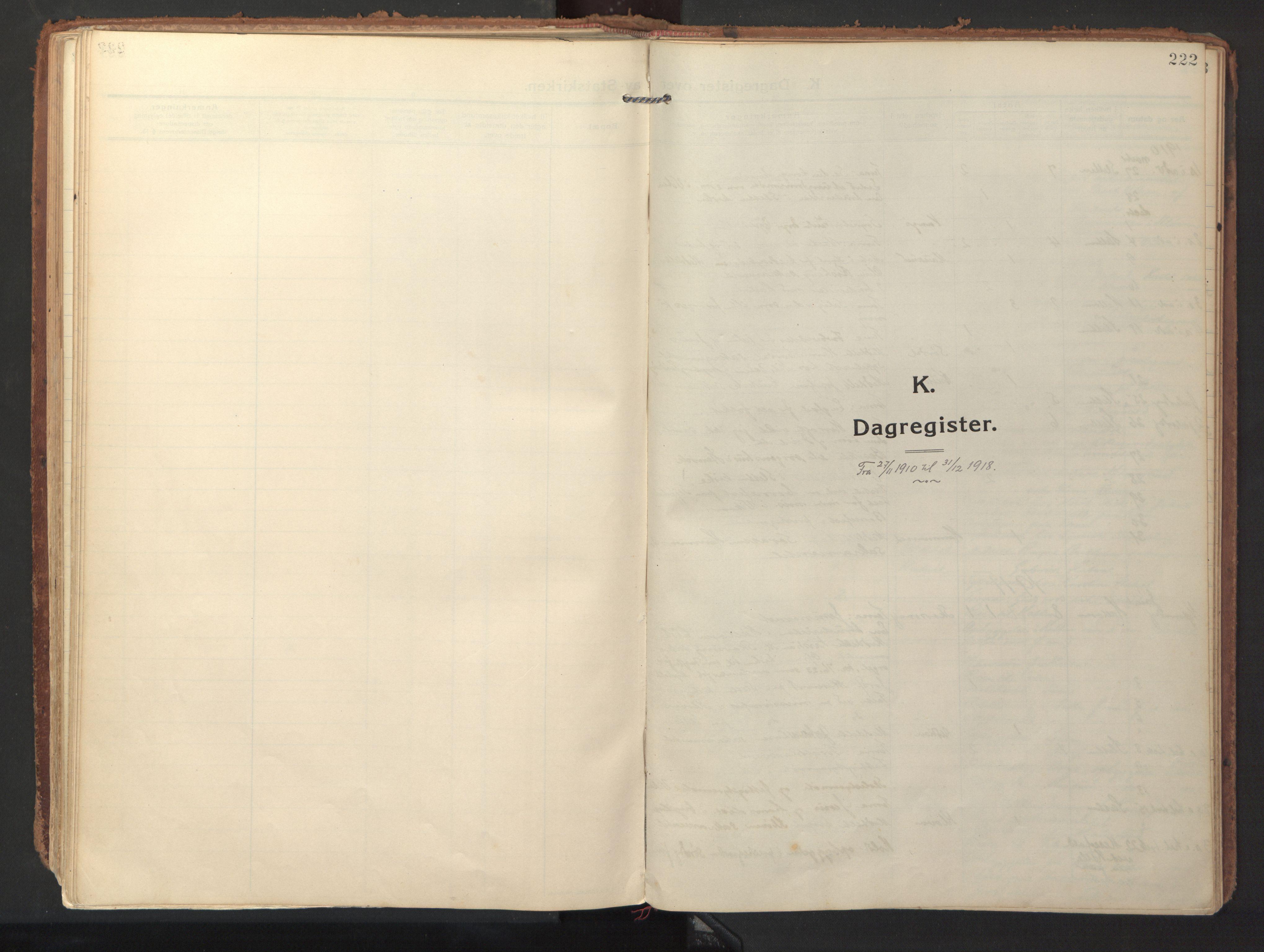 SAT, Ministerialprotokoller, klokkerbøker og fødselsregistre - Sør-Trøndelag, 640/L0581: Ministerialbok nr. 640A06, 1910-1924, s. 222