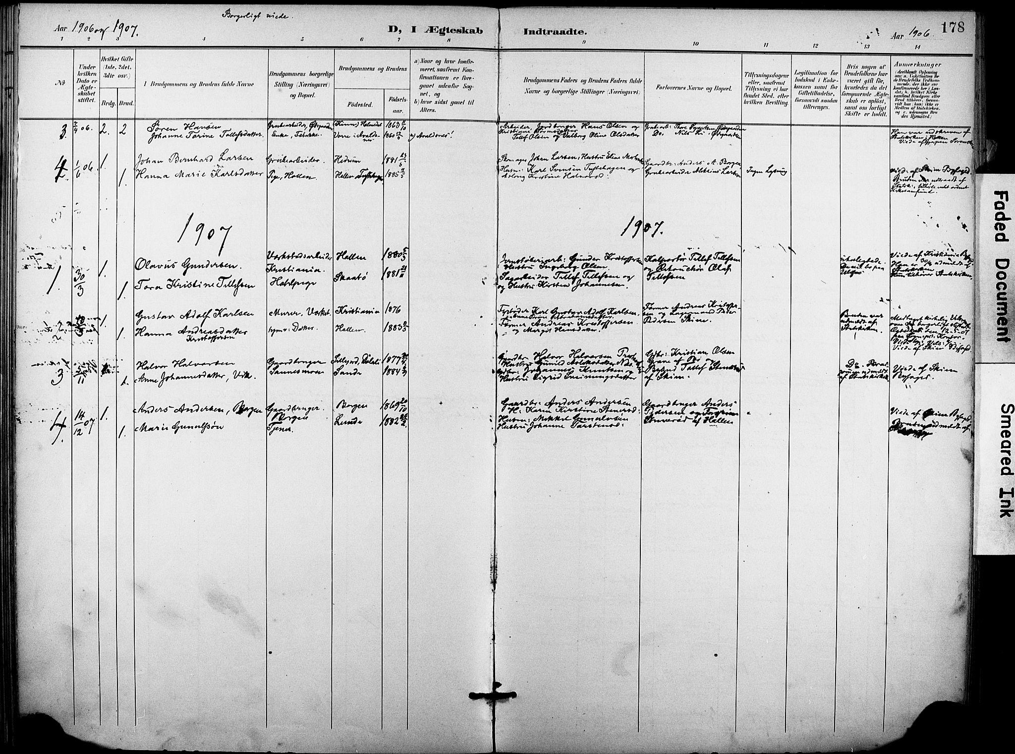 SAKO, Holla kirkebøker, F/Fa/L0010: Ministerialbok nr. 10, 1897-1907, s. 178