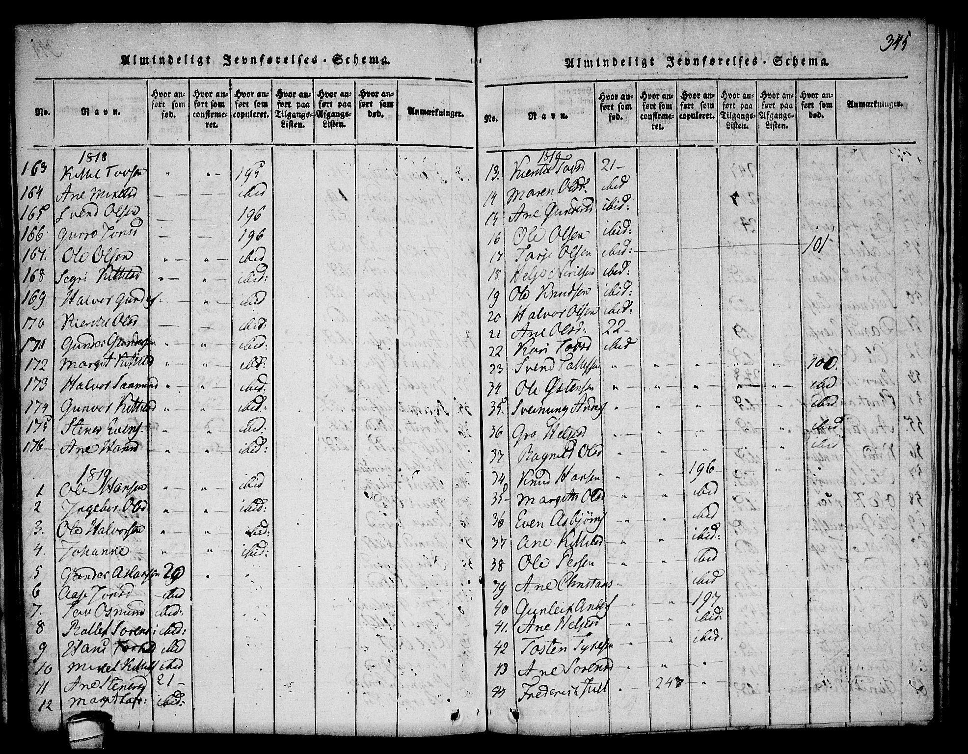 SAKO, Seljord kirkebøker, F/Fa/L0010: Ministerialbok nr. I 10, 1815-1831, s. 345