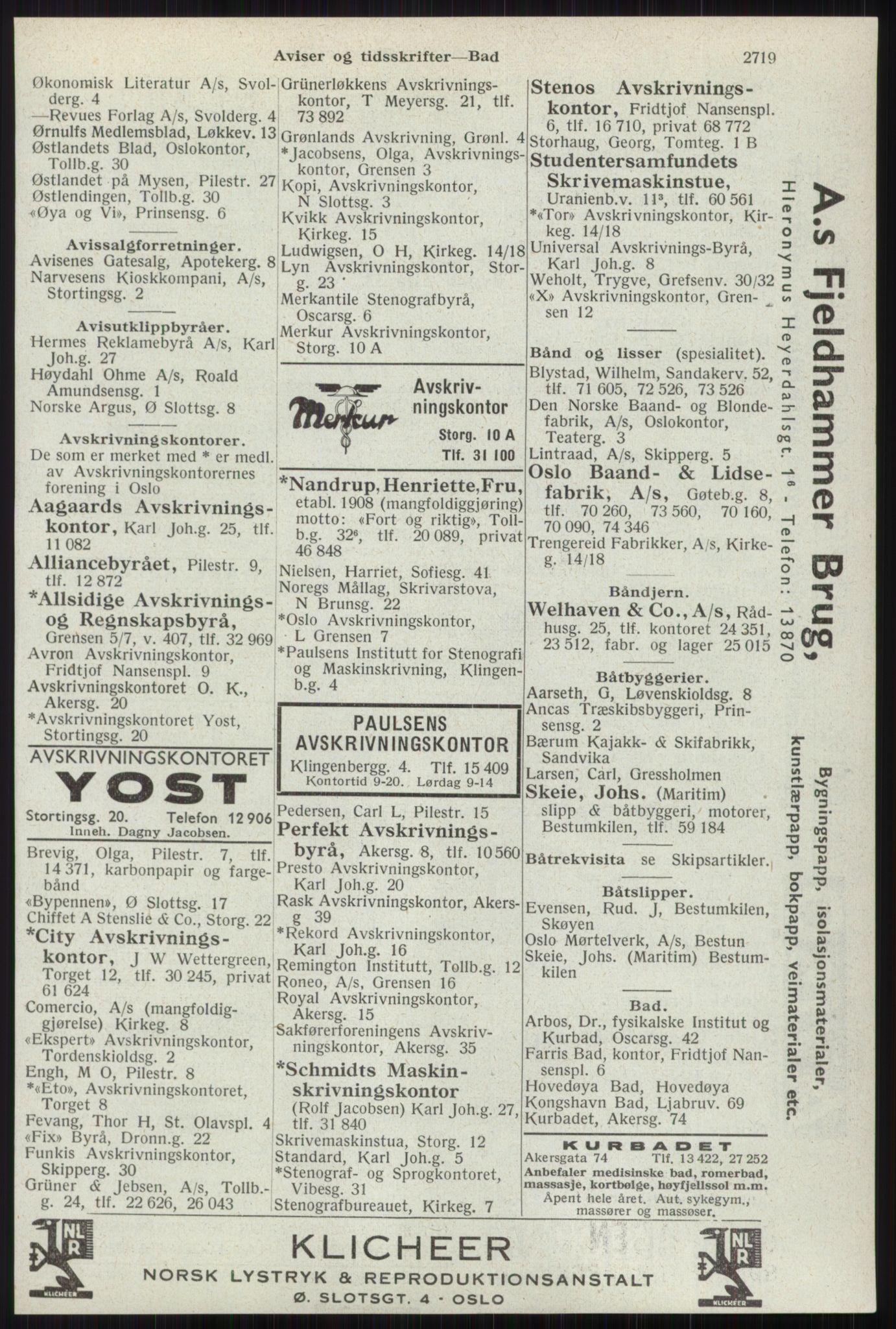RA, Oslo adressebok (publikasjon)*, 1941, s. 2719