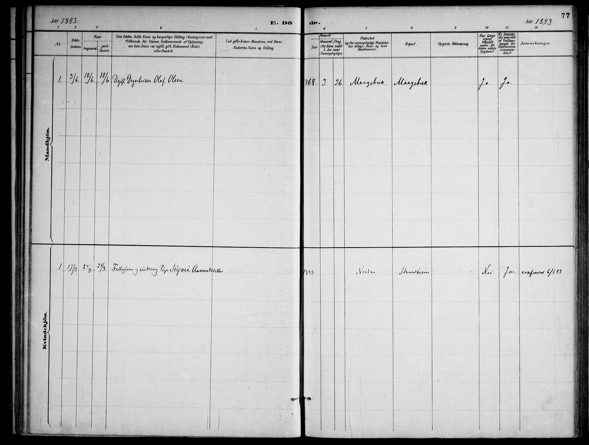 SAKO, Lårdal kirkebøker, F/Fa/L0007: Ministerialbok nr. I 7, 1887-1906, s. 77