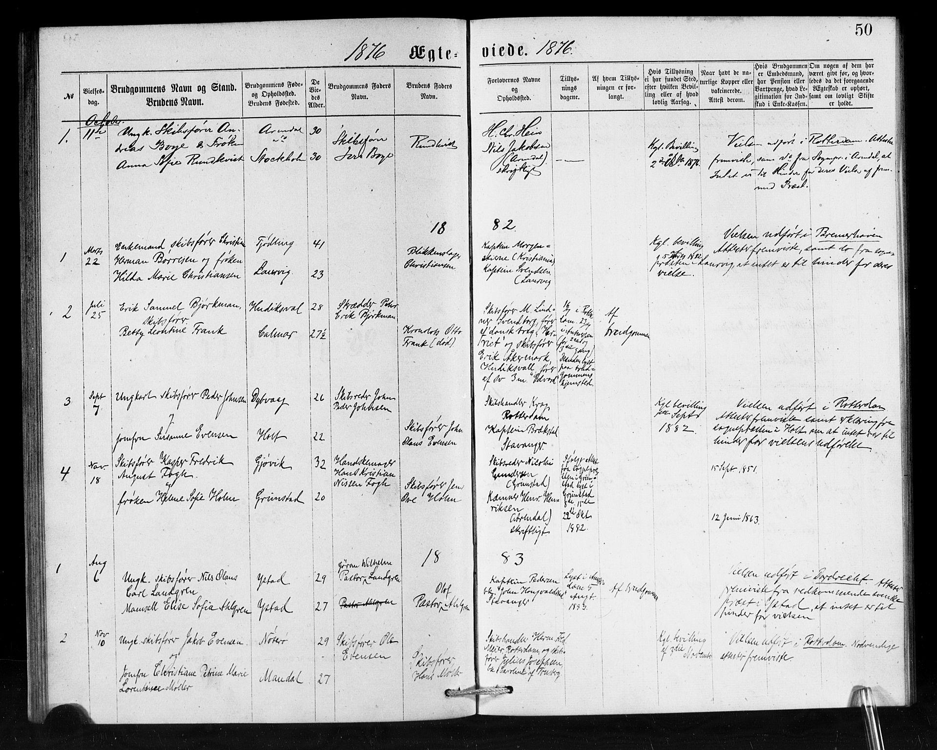 SAB, Den Norske Sjømannsmisjon i utlandet*, Ministerialbok nr. A 1, 1876-1887, s. 50