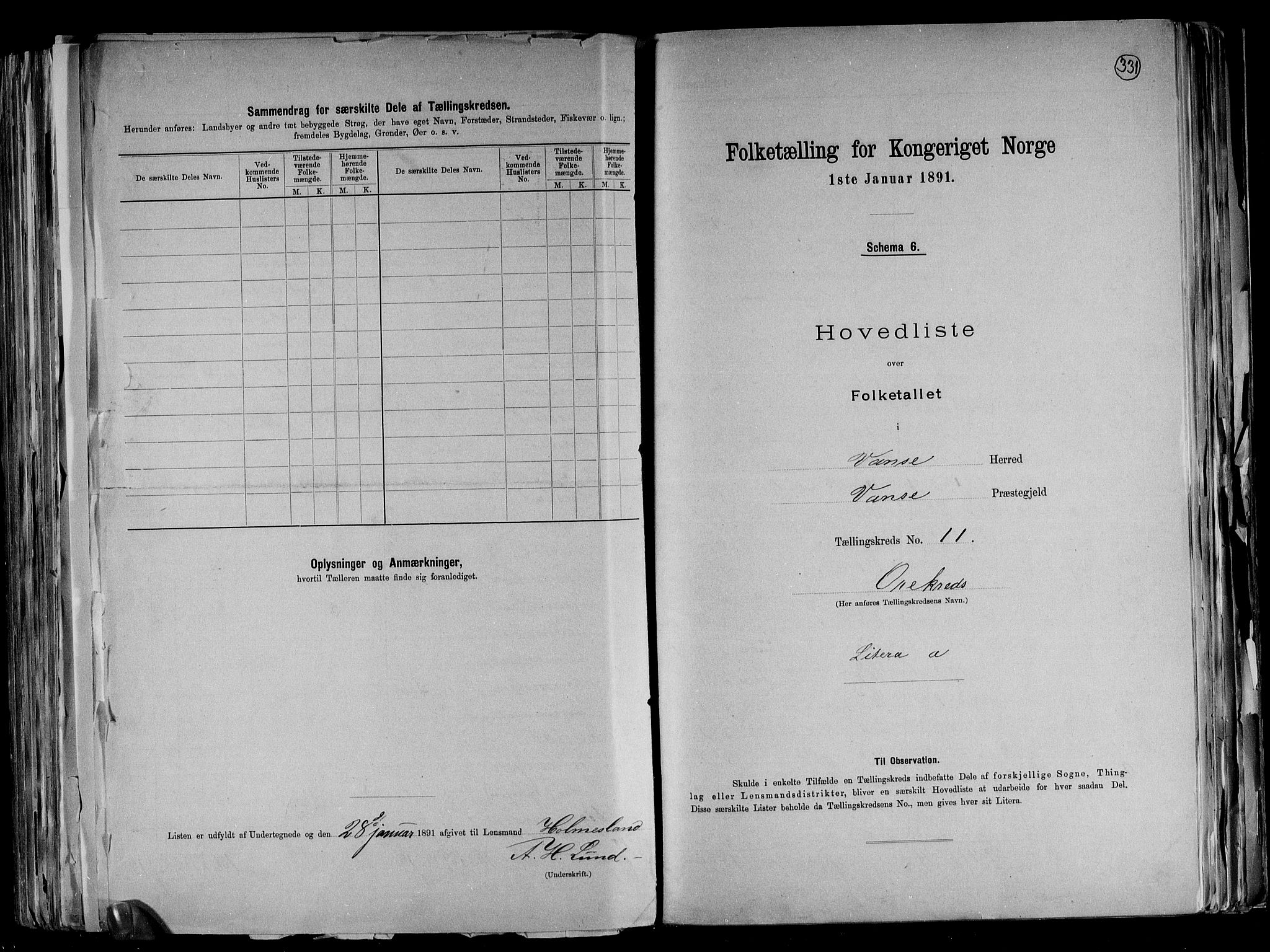 RA, Folketelling 1891 for 1041 Vanse herred, 1891, s. 38