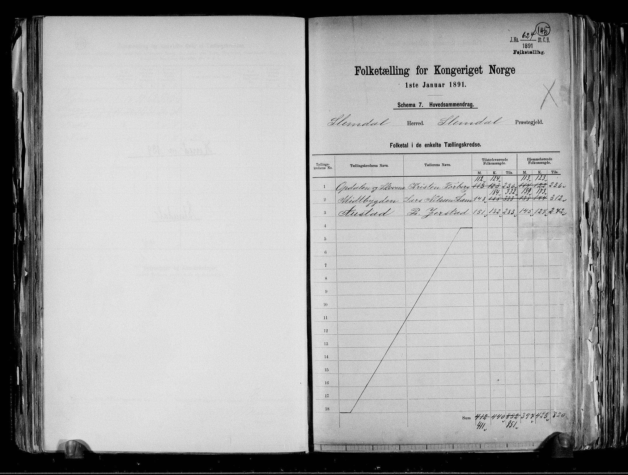 RA, Folketelling 1891 for 0811 Slemdal herred, 1891, s. 2
