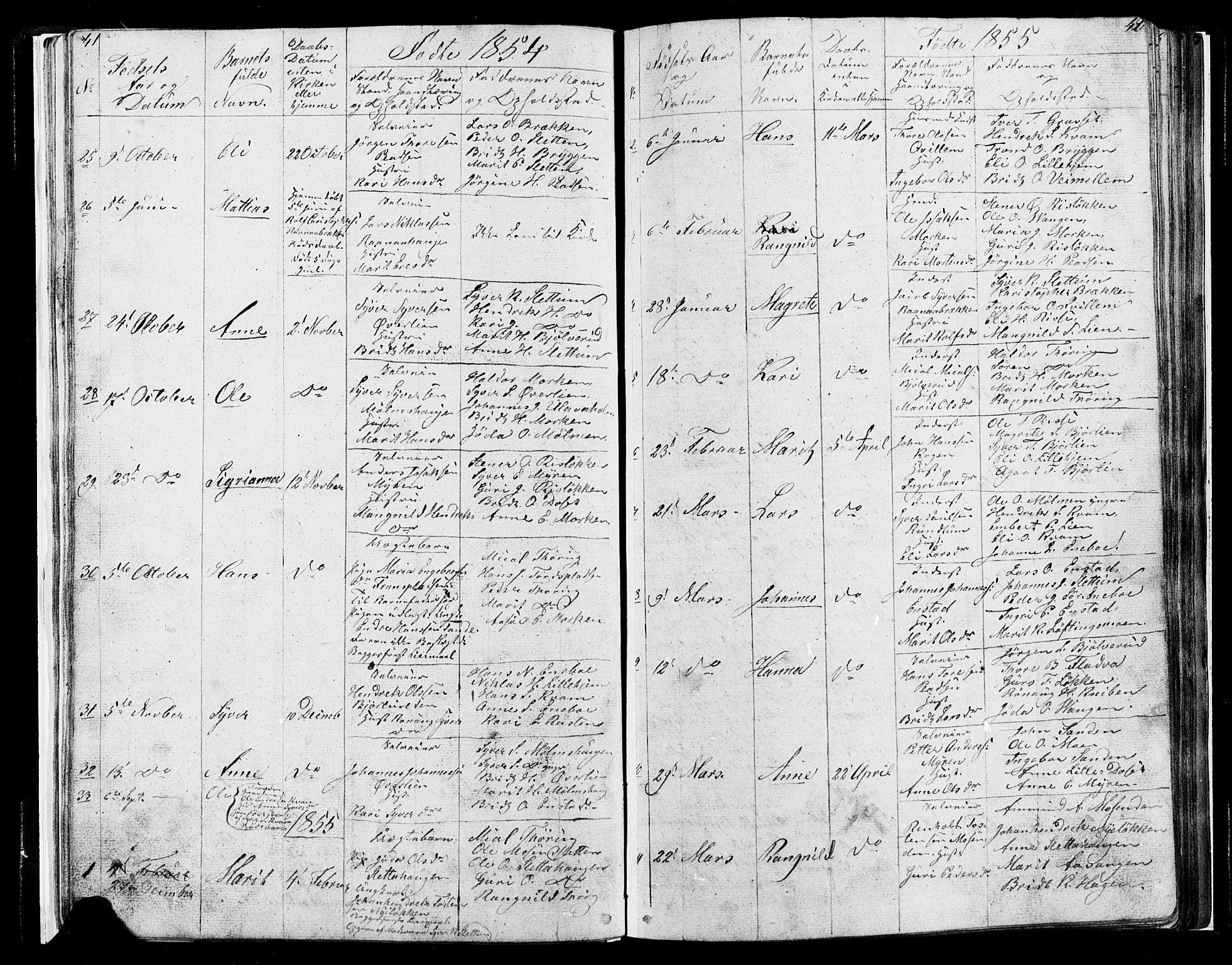 SAH, Lesja prestekontor, Klokkerbok nr. 4, 1842-1871, s. 41-42