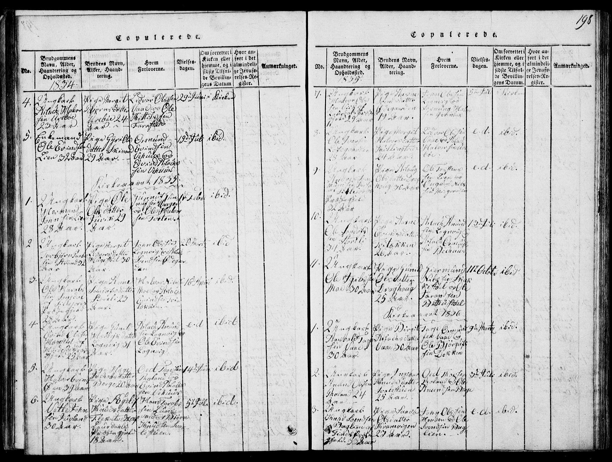 SAKO, Rauland kirkebøker, G/Ga/L0001: Klokkerbok nr. I 1, 1814-1843, s. 198