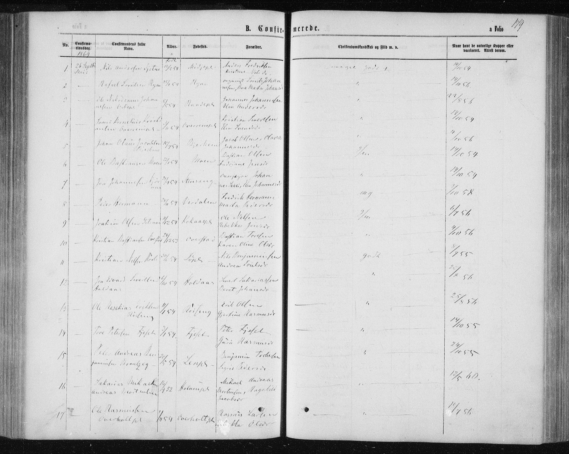 SAT, Ministerialprotokoller, klokkerbøker og fødselsregistre - Nord-Trøndelag, 735/L0345: Ministerialbok nr. 735A08 /1, 1863-1872, s. 179