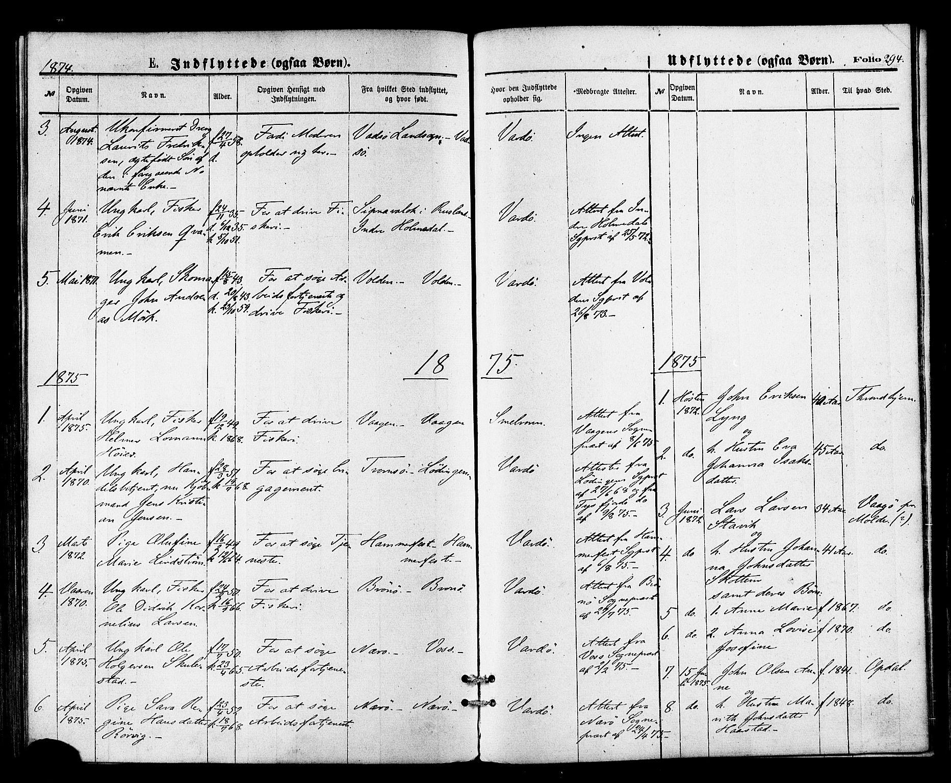 SATØ, Vardø sokneprestkontor, H/Ha/L0005kirke: Ministerialbok nr. 5, 1872-1878, s. 294