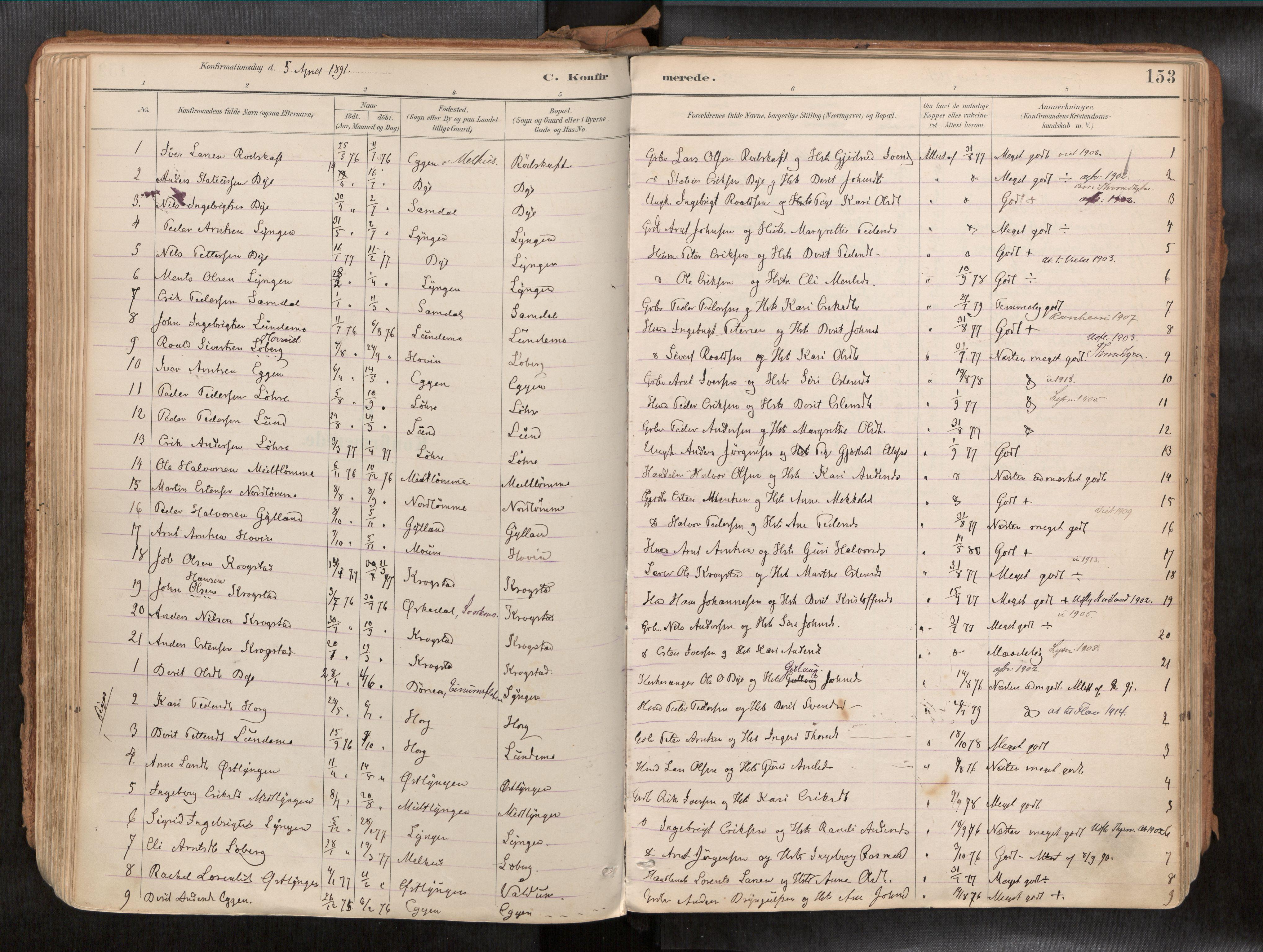 SAT, Ministerialprotokoller, klokkerbøker og fødselsregistre - Sør-Trøndelag, 692/L1105b: Ministerialbok nr. 692A06, 1891-1934, s. 153