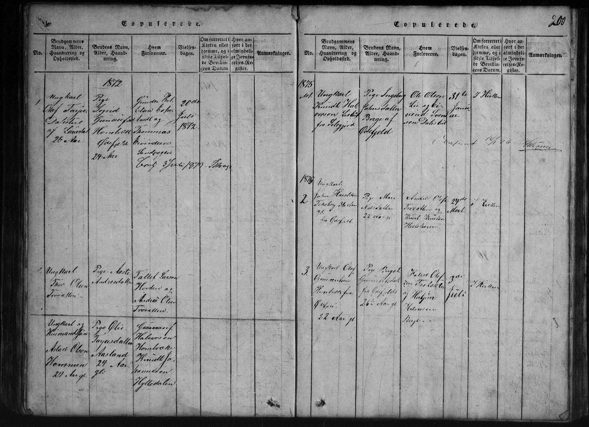 SAKO, Rauland kirkebøker, G/Gb/L0001: Klokkerbok nr. II 1, 1815-1886, s. 200