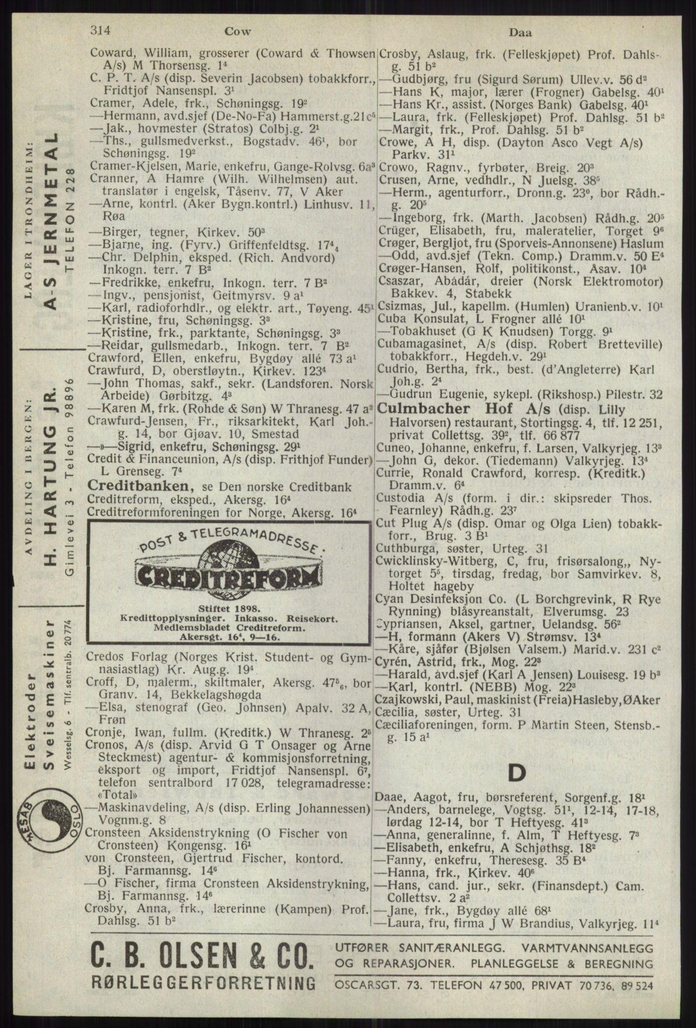 RA, Oslo adressebok (publikasjon)*, 1941, s. 314